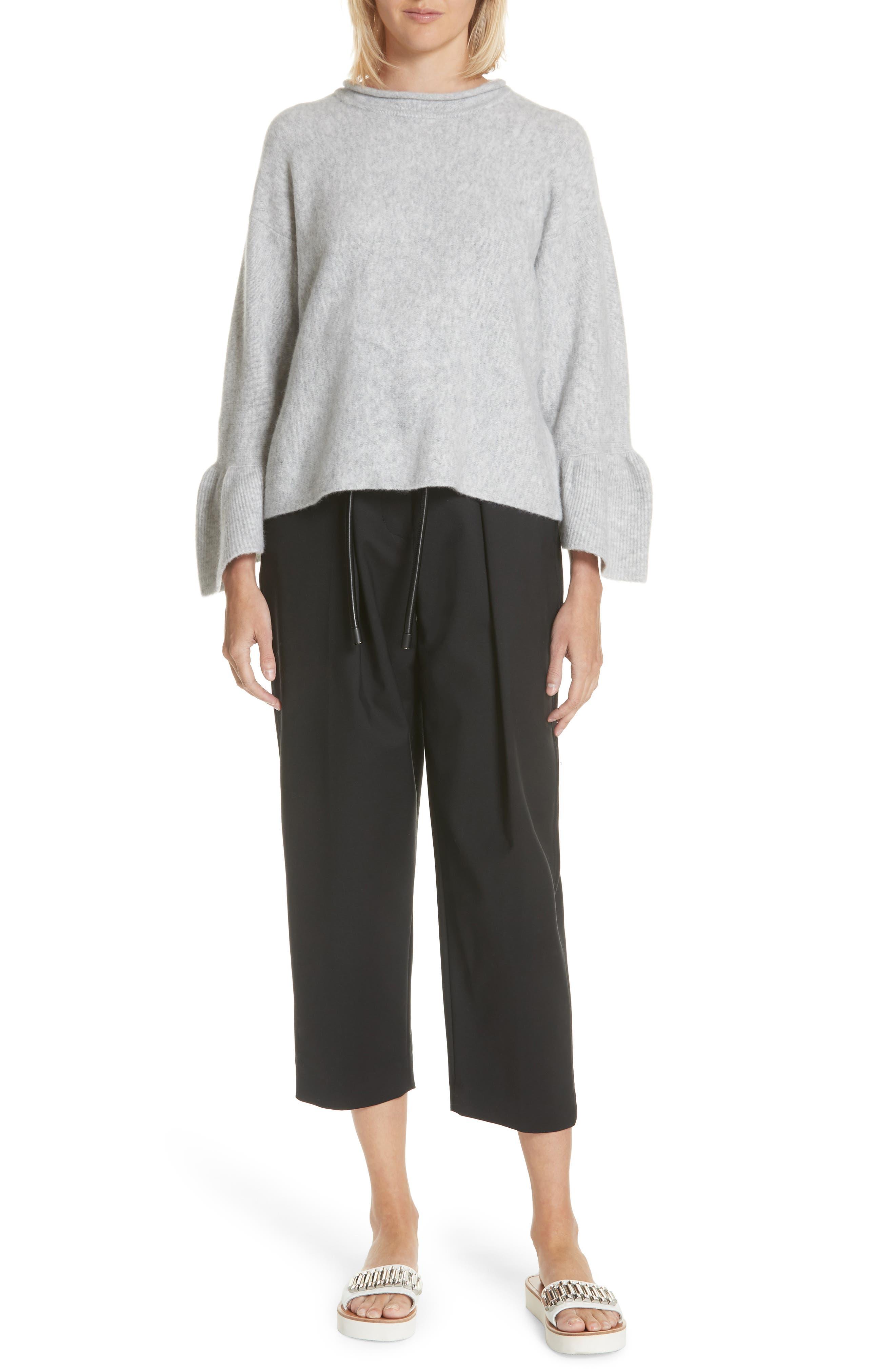 Ruffle Cuff Wool Blend Pullover,                             Alternate thumbnail 7, color,                             Grey Melange