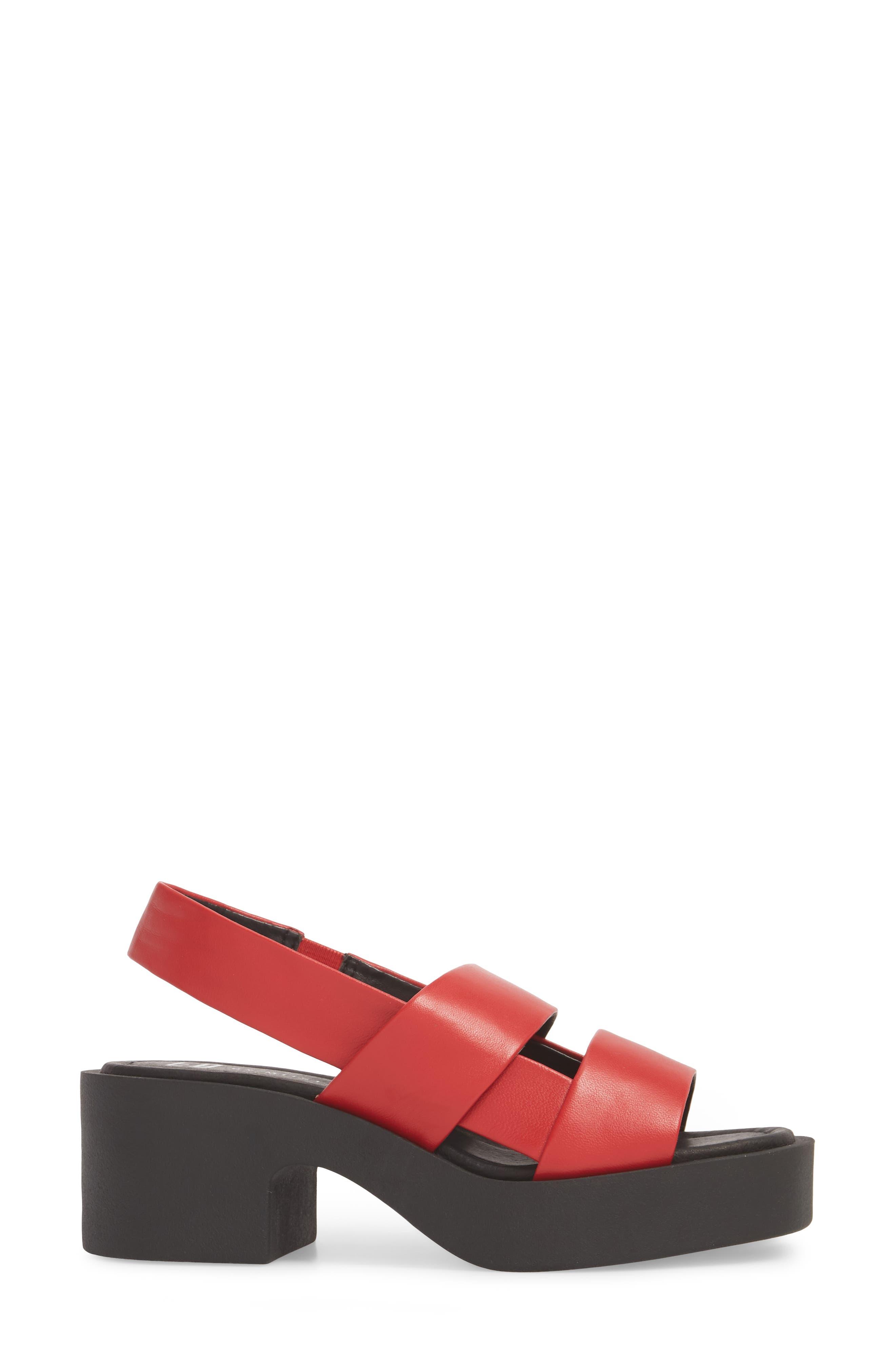 Hazel Slingback Sandal,                             Alternate thumbnail 3, color,                             Red Leather