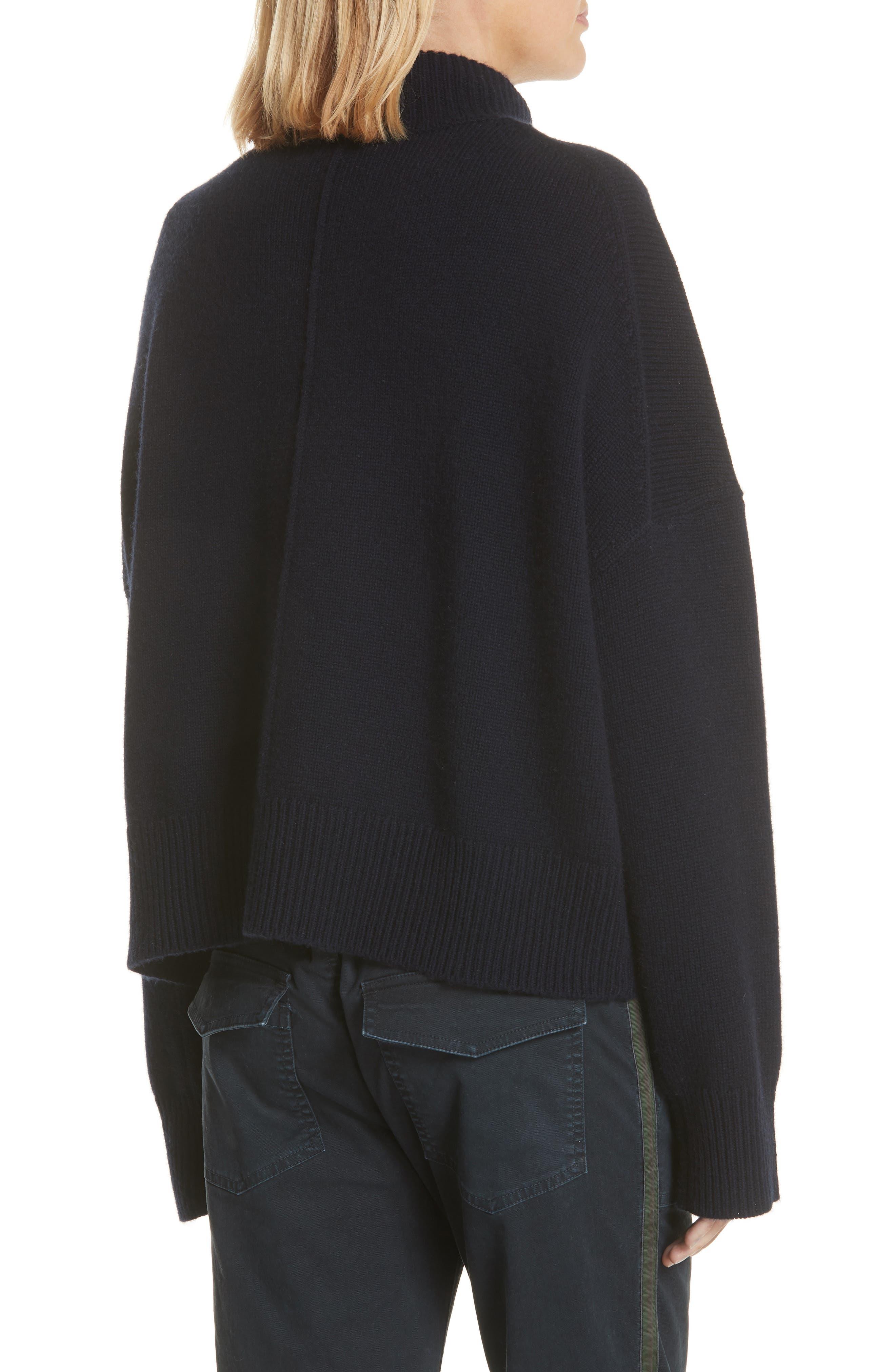 Serinda Wool & Cashmere Turtleneck Sweater,                             Alternate thumbnail 2, color,                             Dark Navy