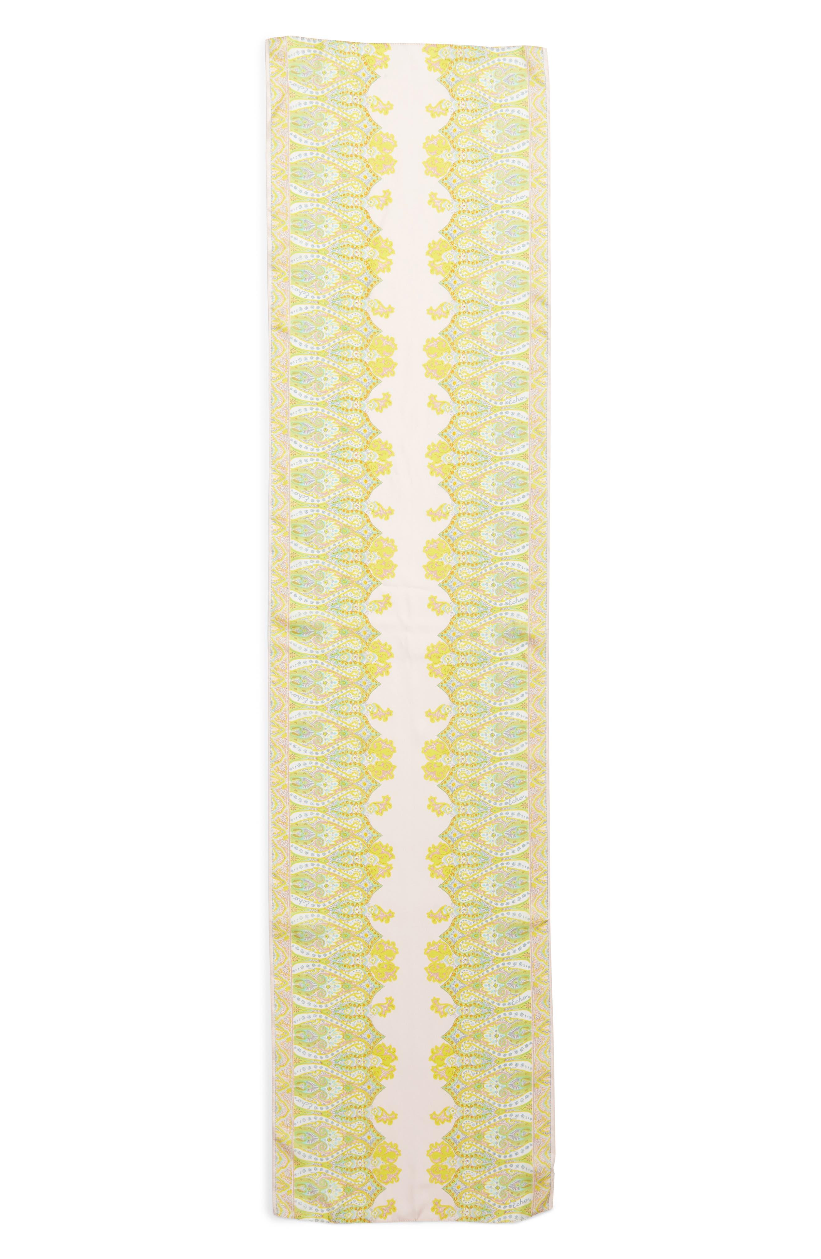 Sea Fan Paisley Silk Scarf,                             Alternate thumbnail 3, color,                             Pearl Pink