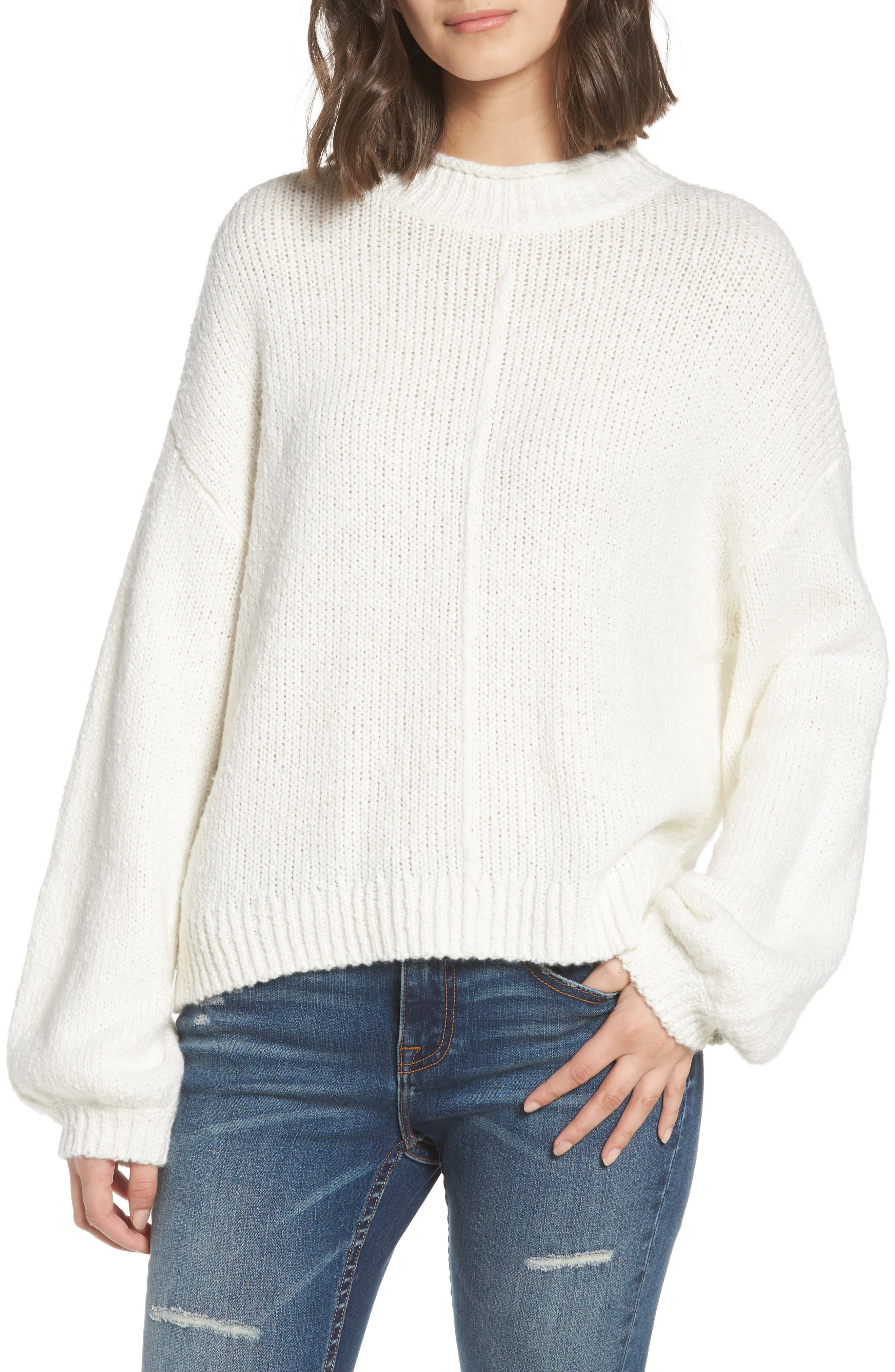 Balloon Sleeve Sweater,                         Main,                         color, Ivory