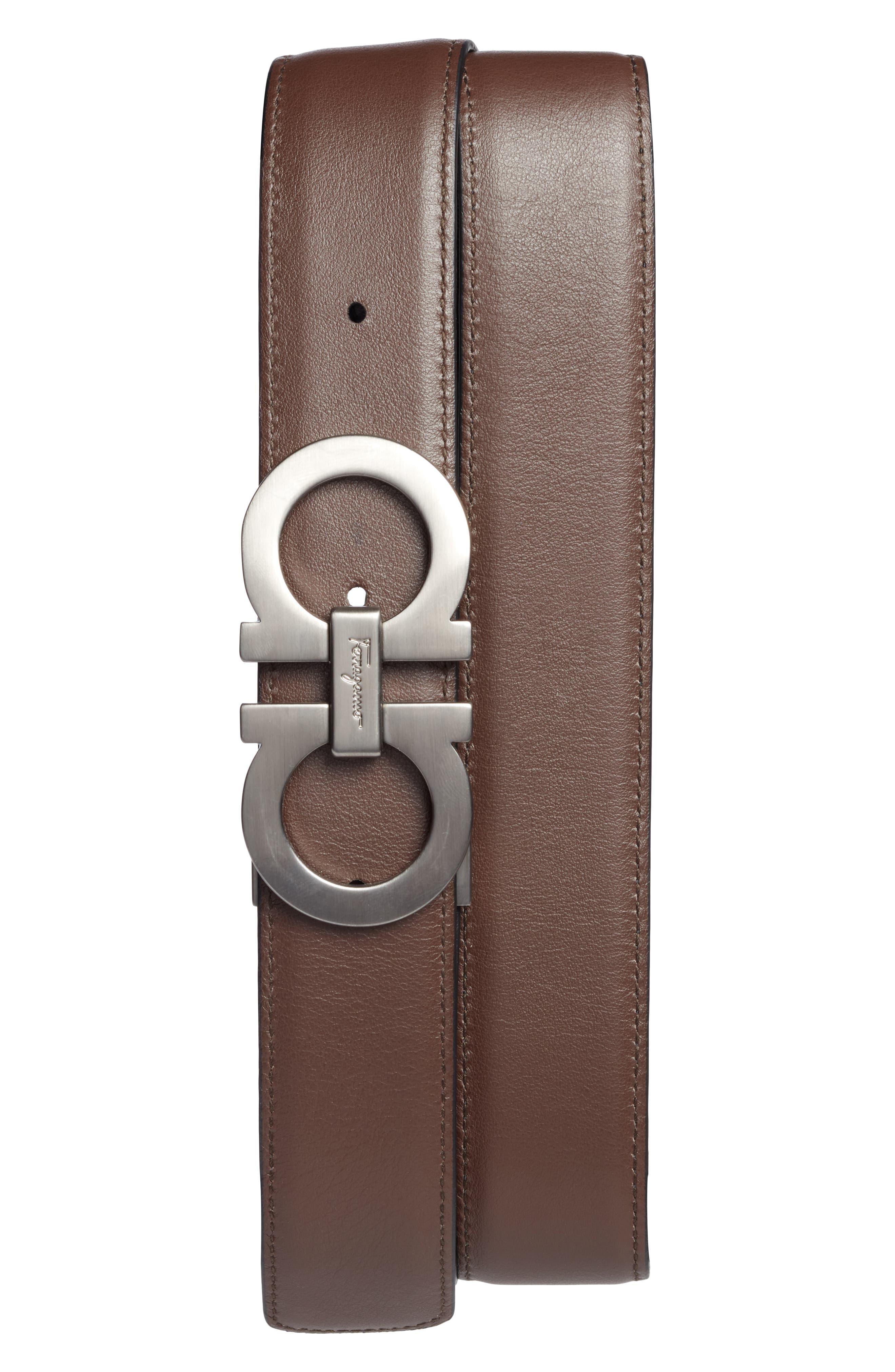 Reversible Leather Belt,                             Alternate thumbnail 2, color,                             Nero/ Brown
