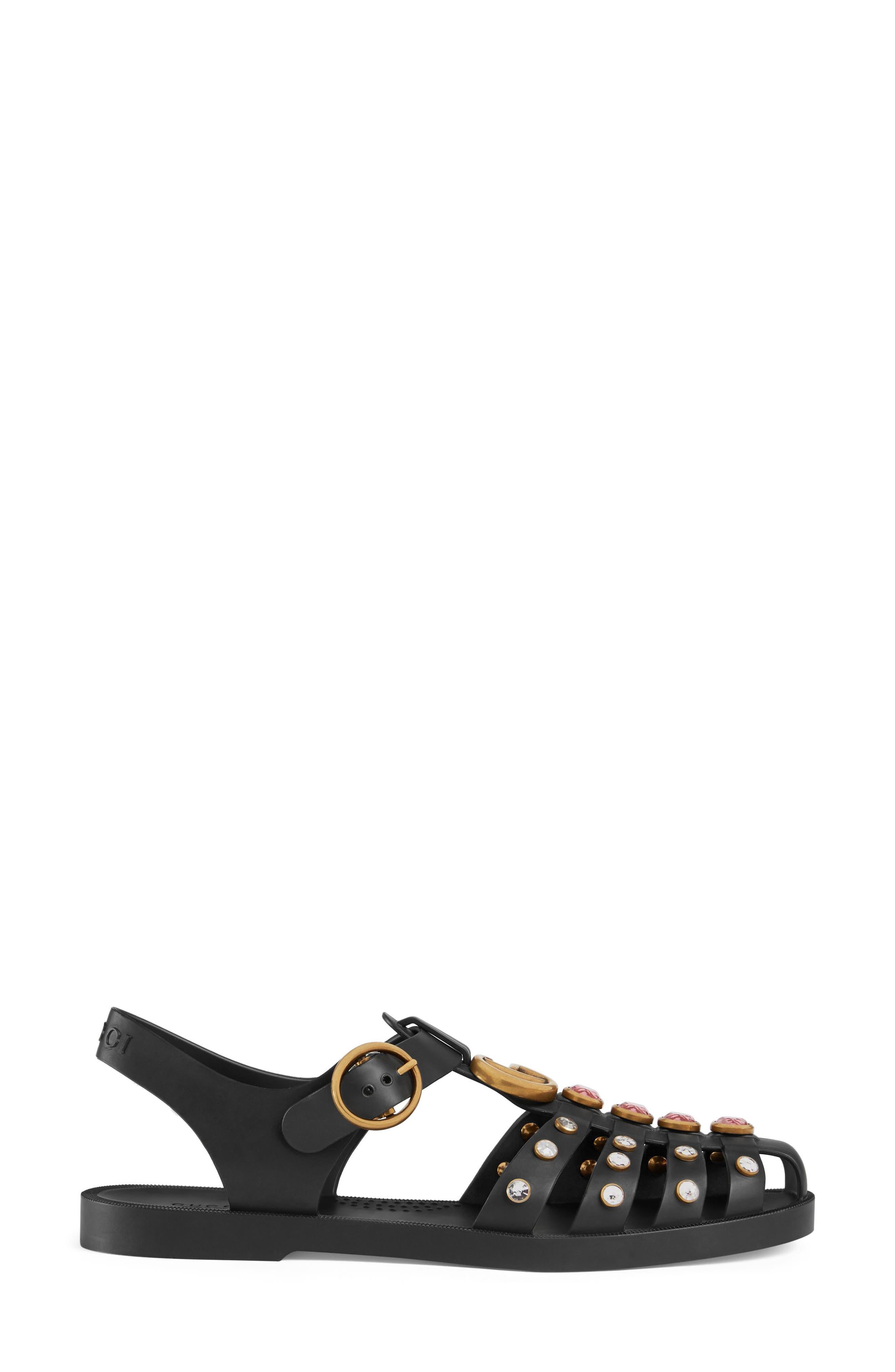 Crystal Embellished Fisherman Sandal,                             Alternate thumbnail 2, color,                             Black