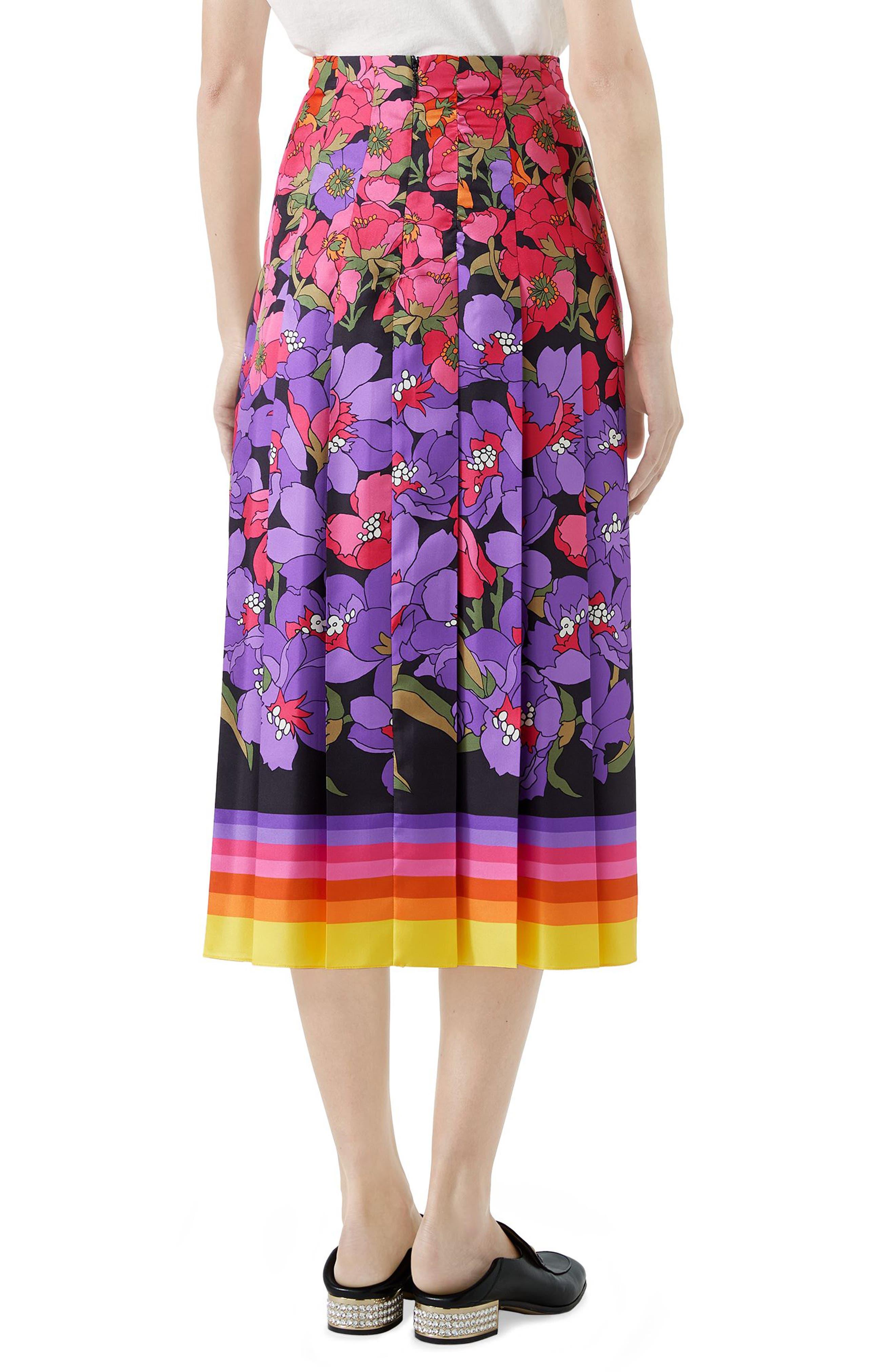 Flower Dégradé Pleated Silk Skirt,                             Alternate thumbnail 2, color,                             Black/ Purple Print