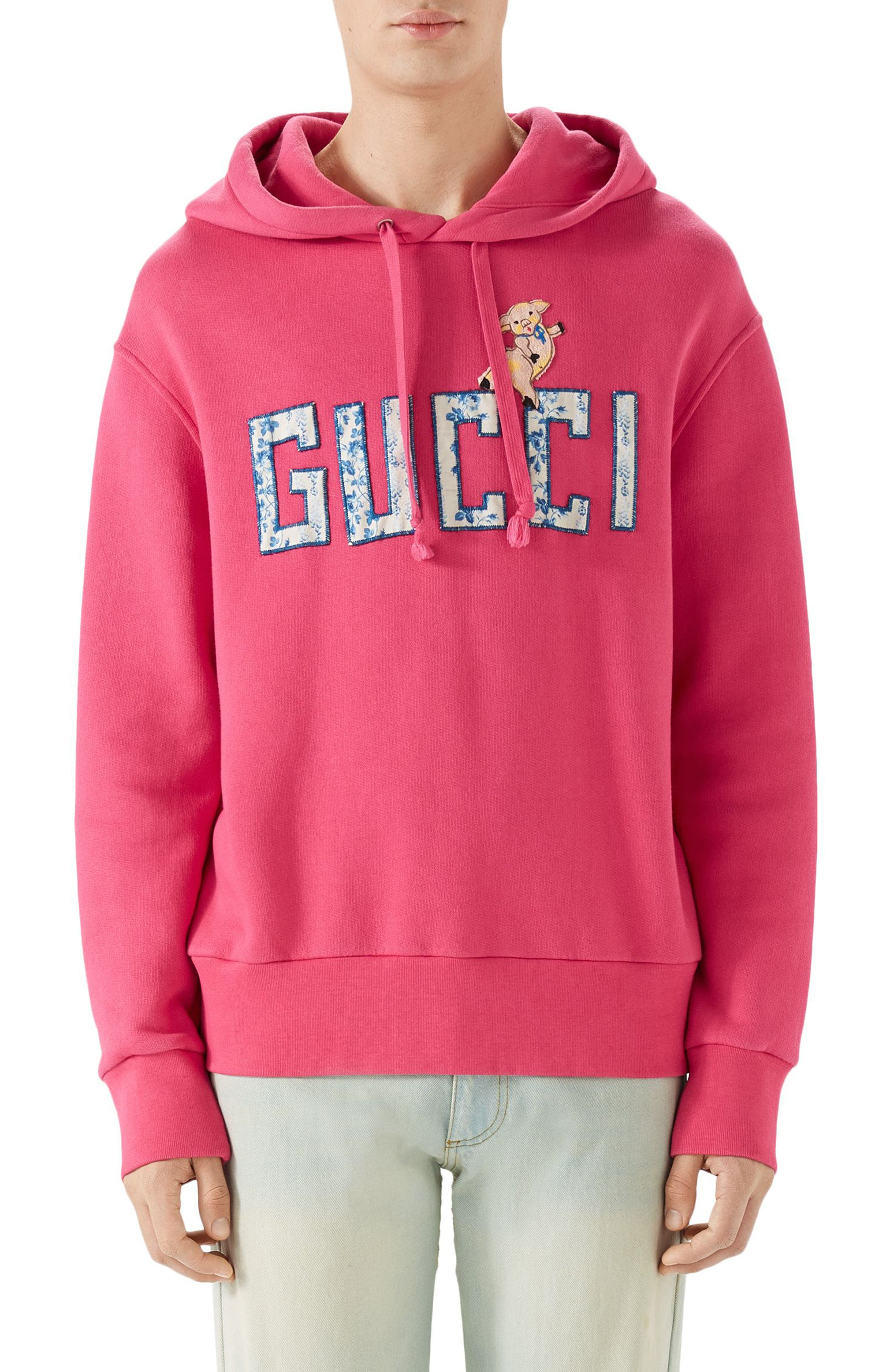 Logo Patch Pullover Hoodie,                         Main,                         color, Pink