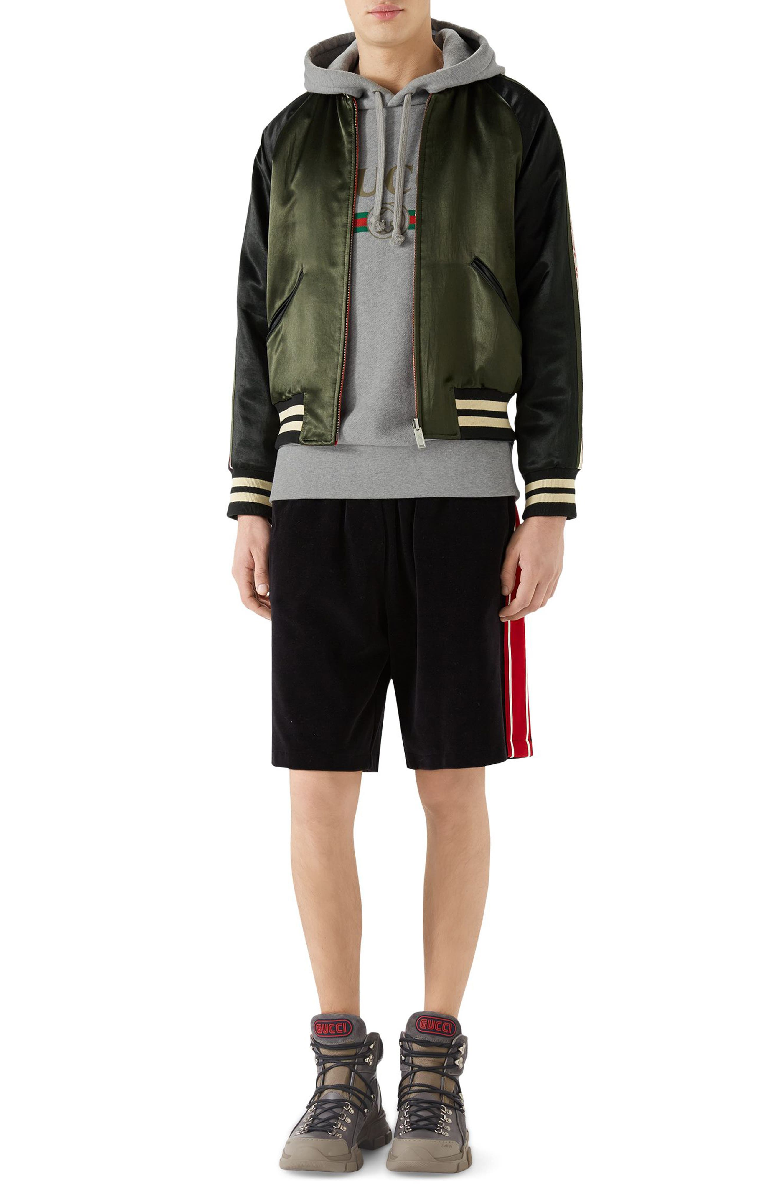 Chenille Jersey Shorts,                             Alternate thumbnail 3, color,                             Black