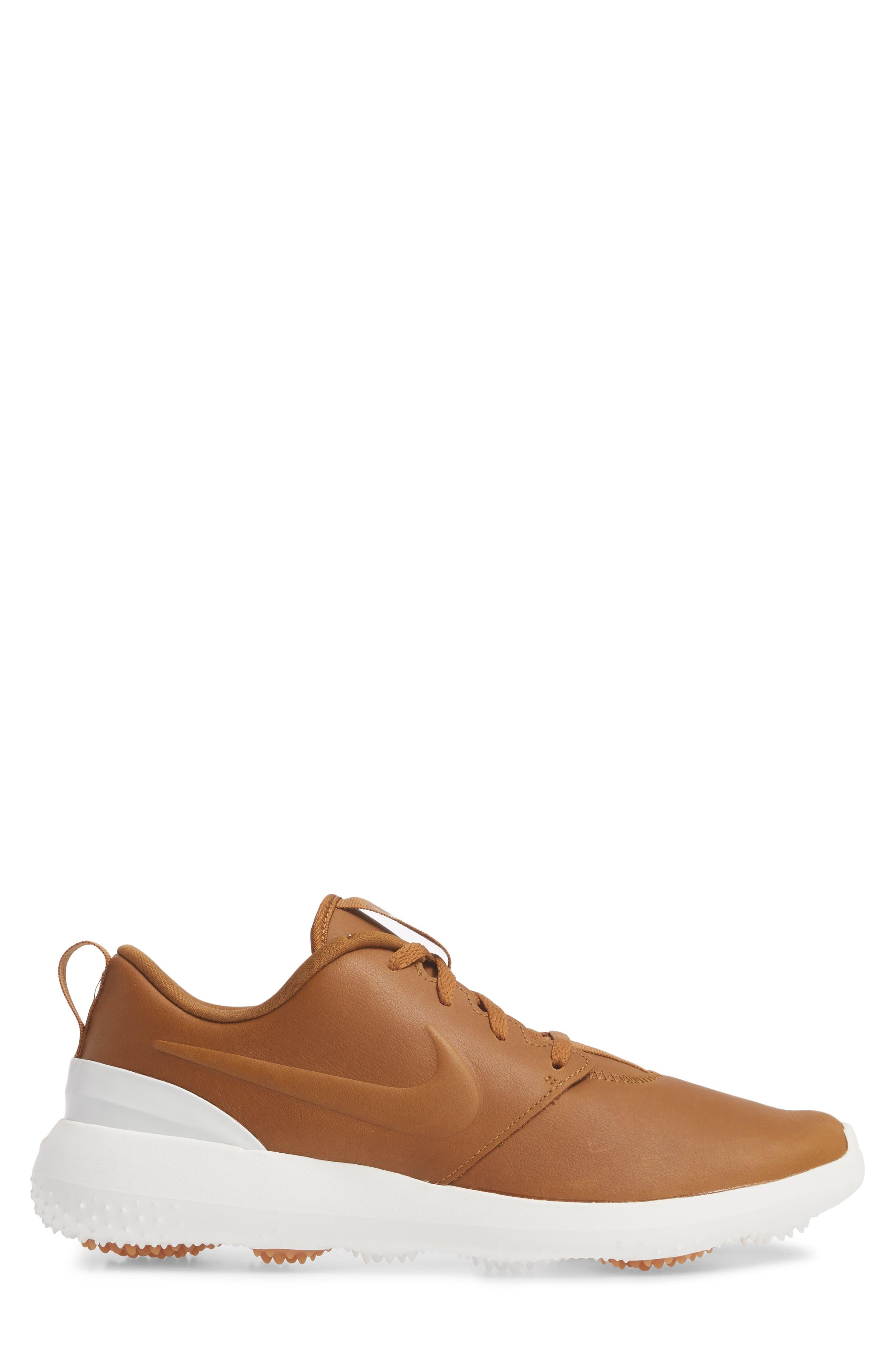 Roshe G Premium Golf Shoe,                             Alternate thumbnail 3, color,                             Ale Brown/ Ale Brown-White