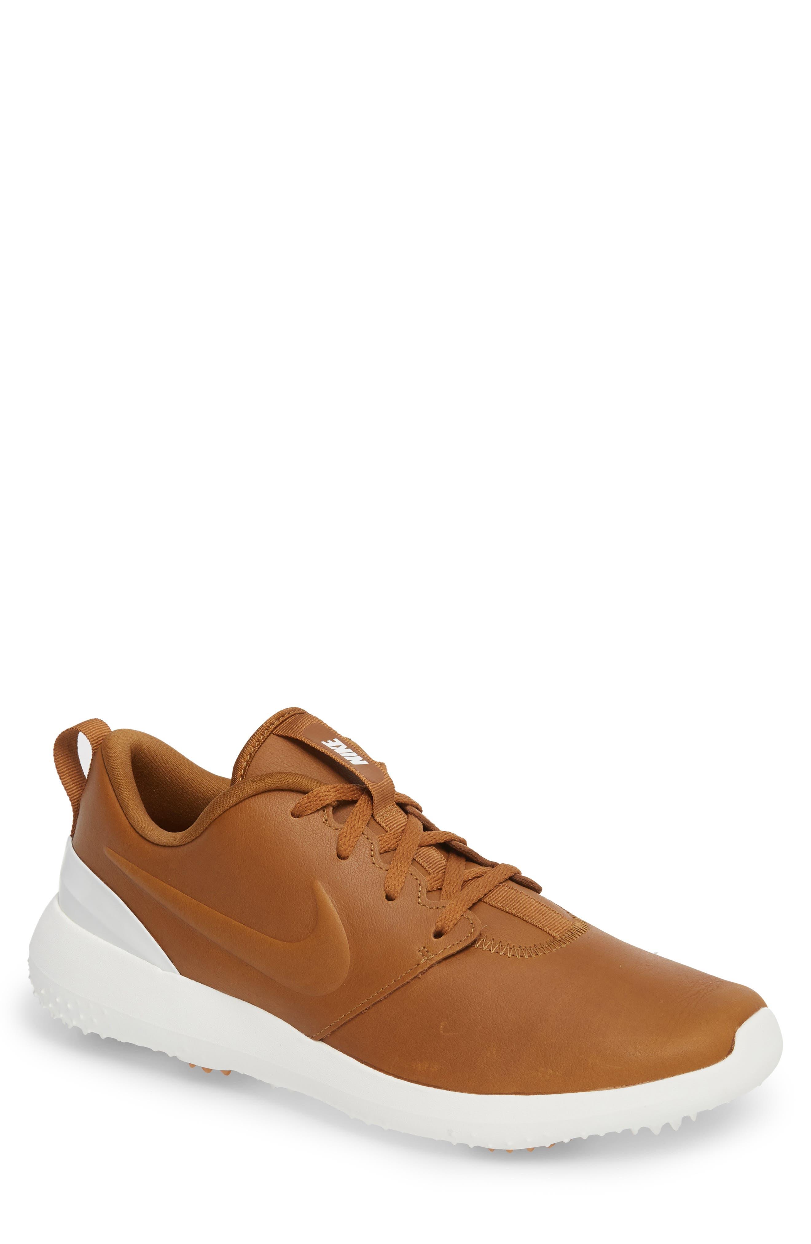 Roshe G Premium Golf Shoe,                         Main,                         color, Ale Brown/ Ale Brown-White