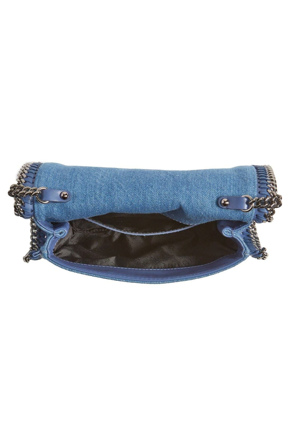 'Falabella - Adorned' Denim Crossbody Bag,                             Alternate thumbnail 4, color,                             Blue