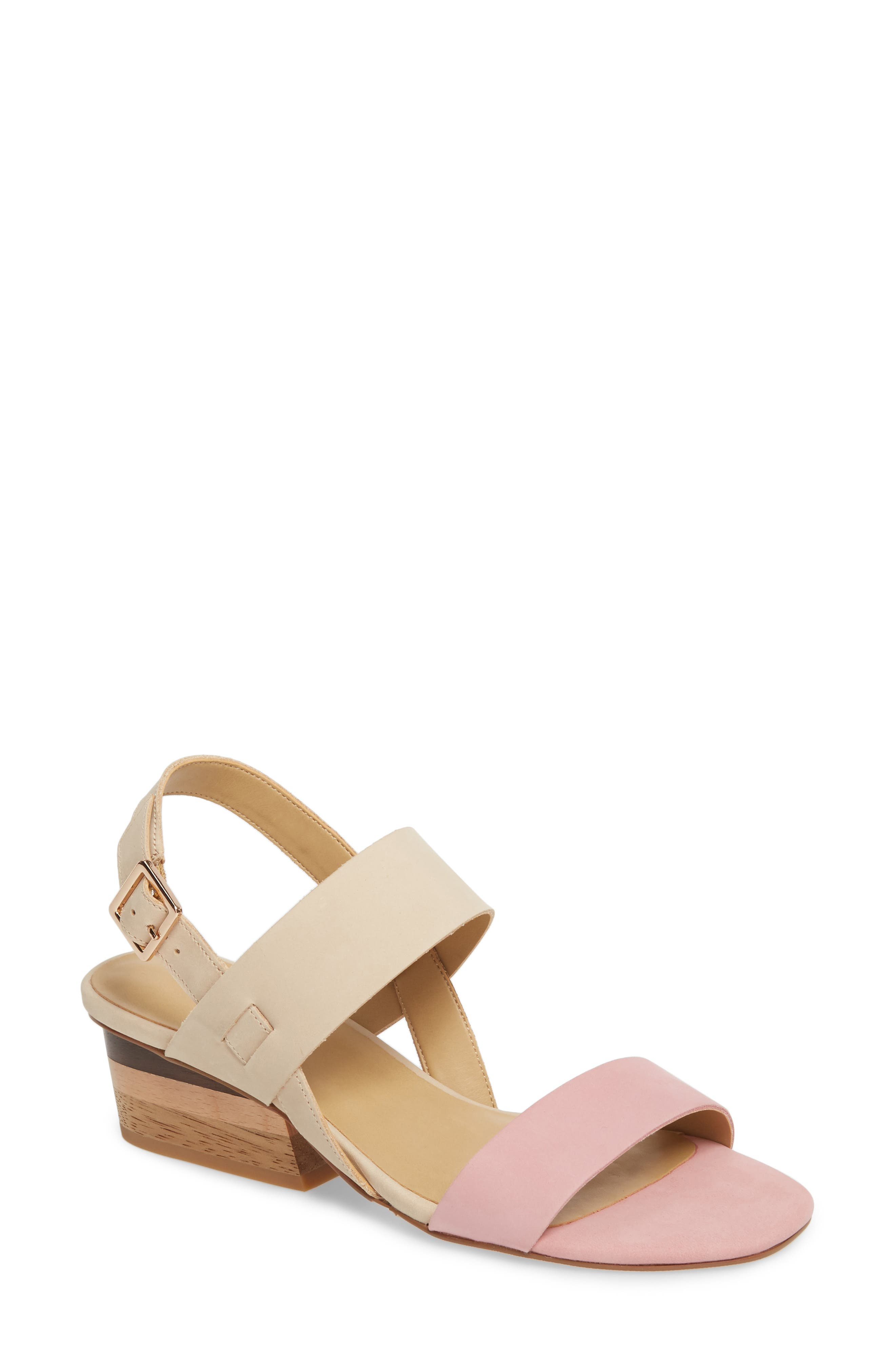 Caryna Slingback Sandal,                             Main thumbnail 1, color,                             Beige/ Pink