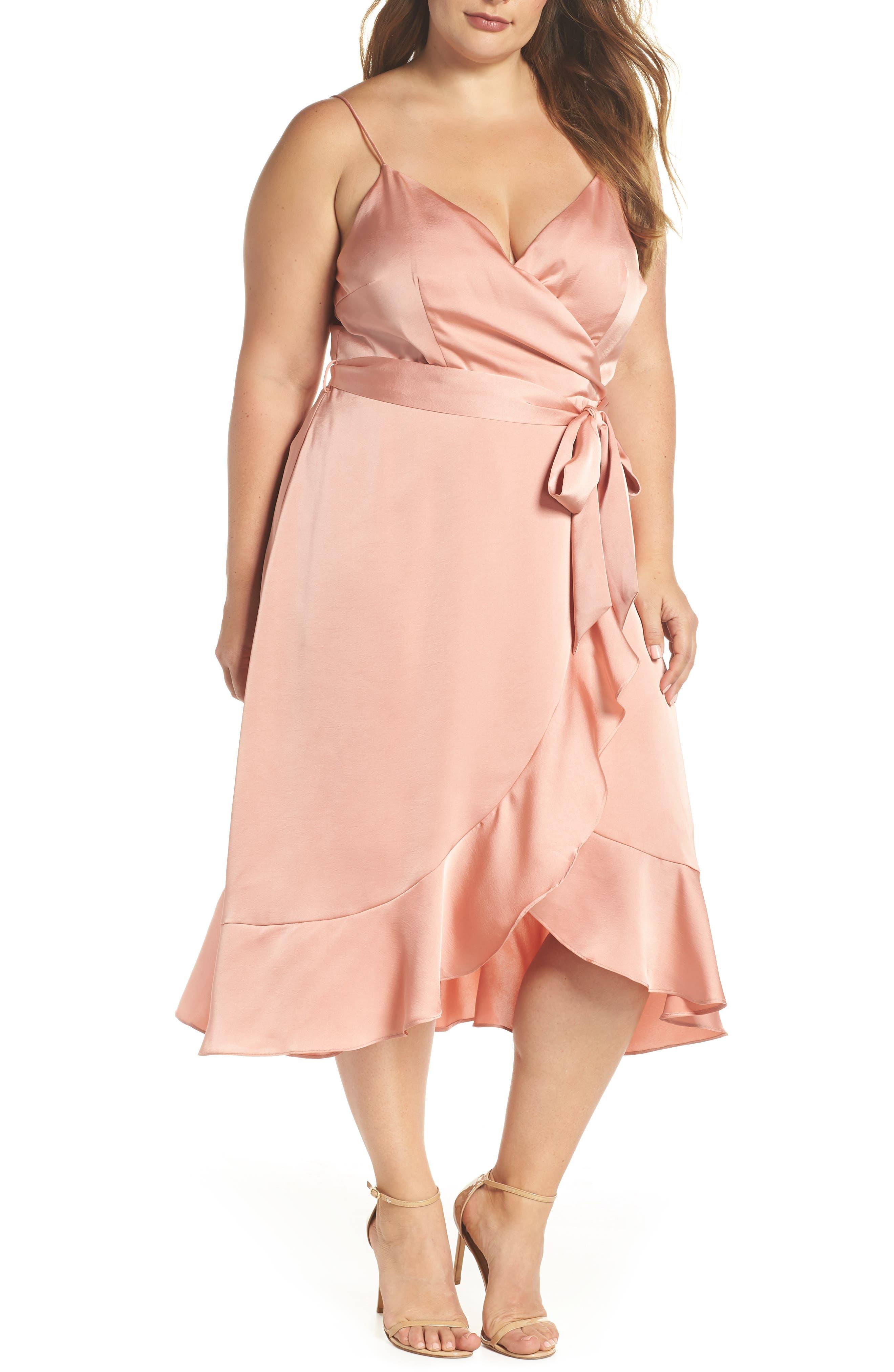 Marilyn Satin Faux Wrap Dress,                         Main,                         color, Coral Haze