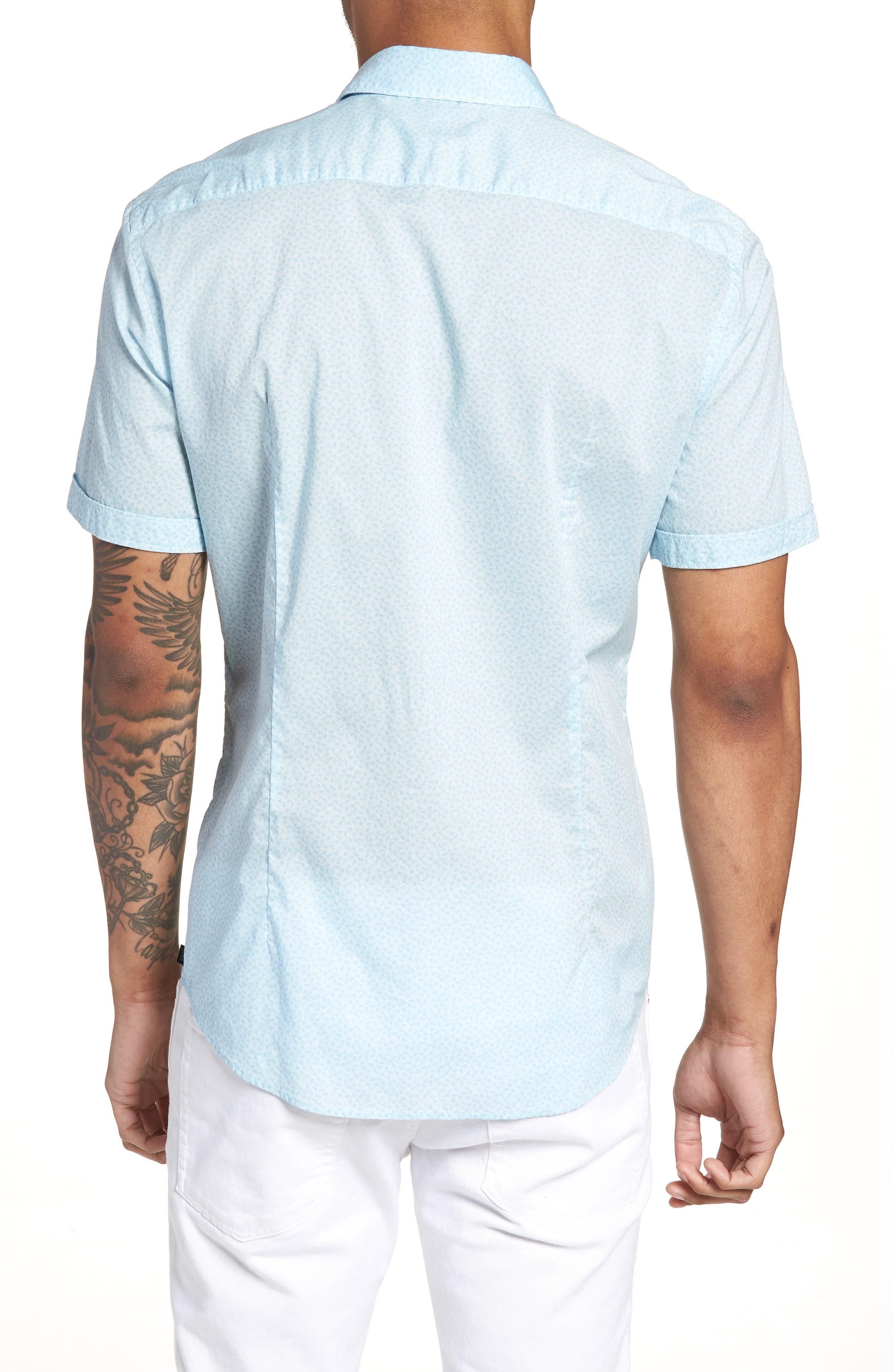 Ronn Slim Fit Flower Print Sport Shirt,                             Alternate thumbnail 3, color,                             Blue