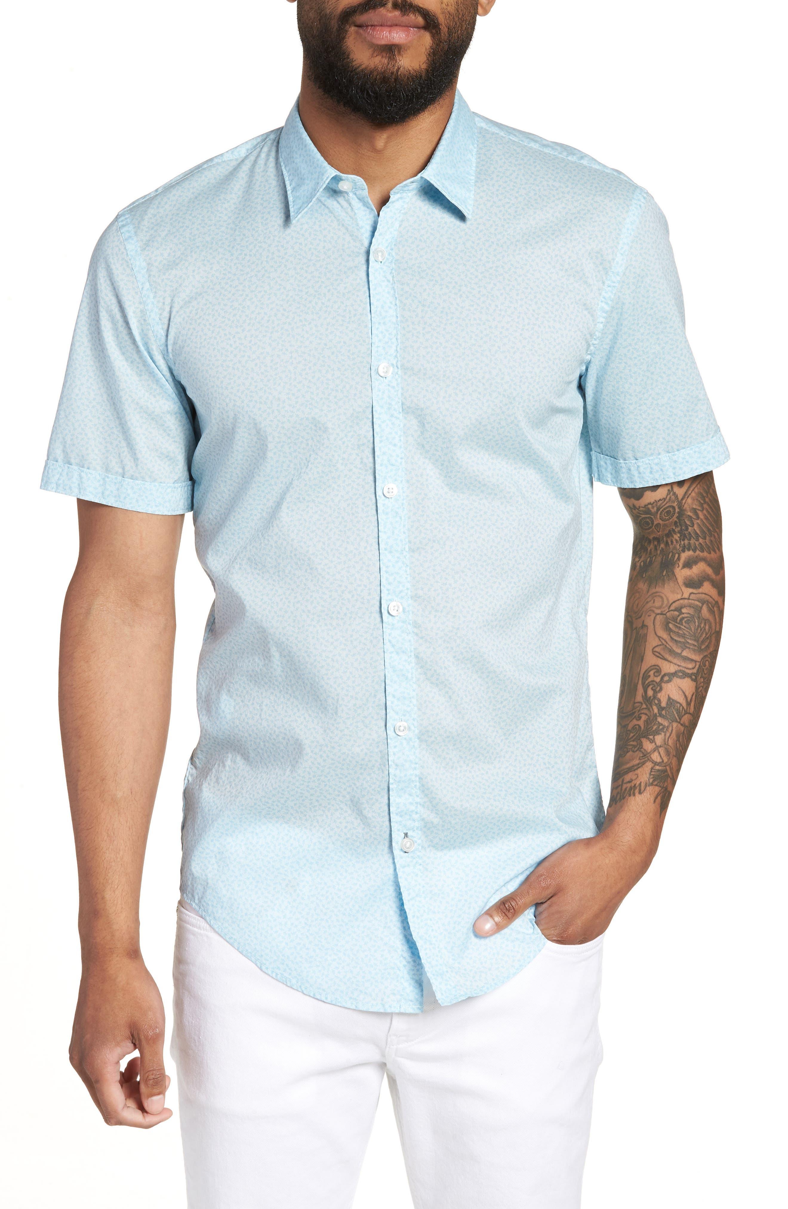 Ronn Slim Fit Flower Print Sport Shirt,                         Main,                         color, Blue