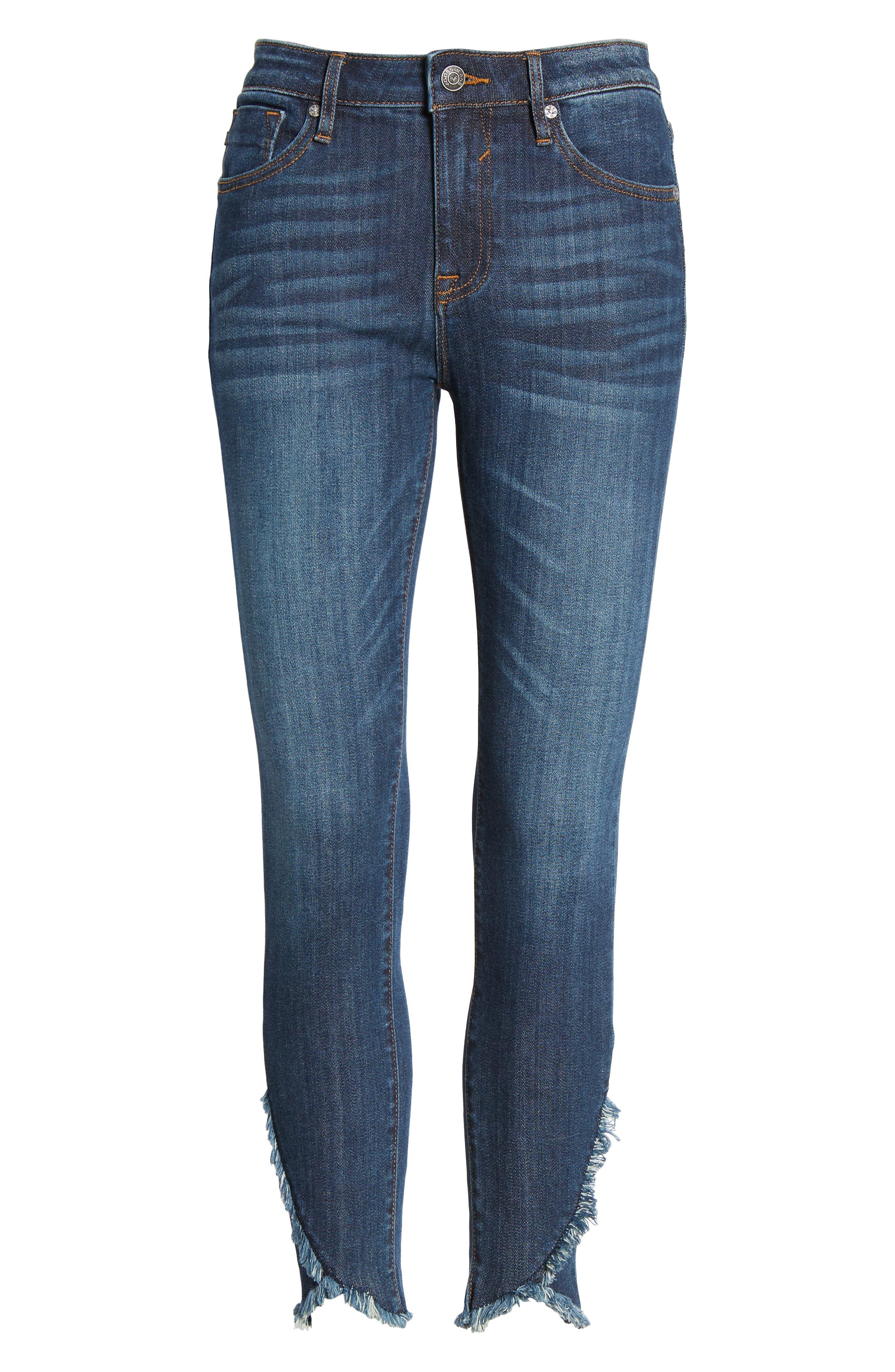 Asymmetrical Fray Hem Skinny Jeans,                             Alternate thumbnail 7, color,                             Dark Wash