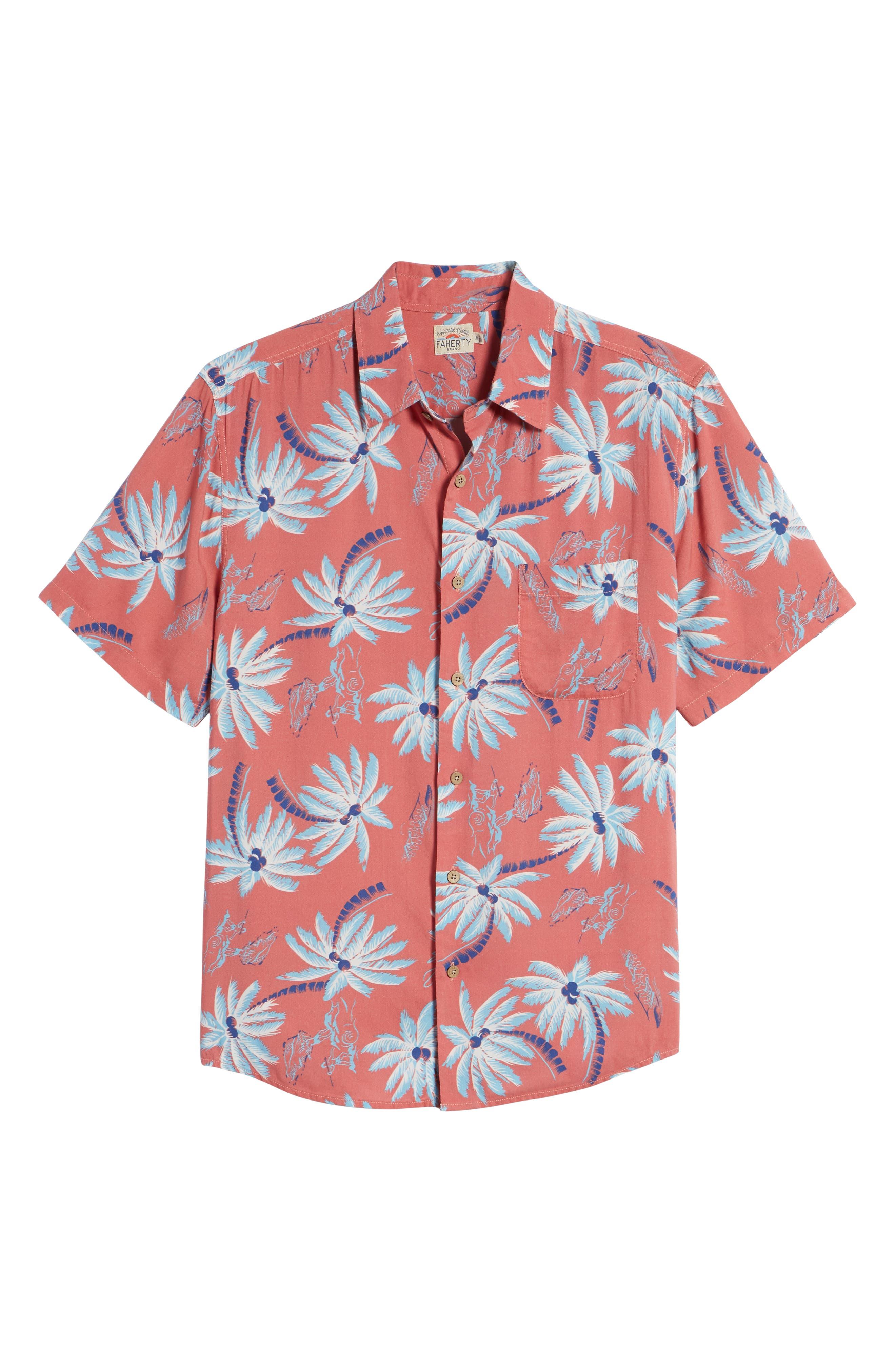 Hawaiian Print Sport Shirt,                             Alternate thumbnail 6, color,                             Red Palm Hawaiian