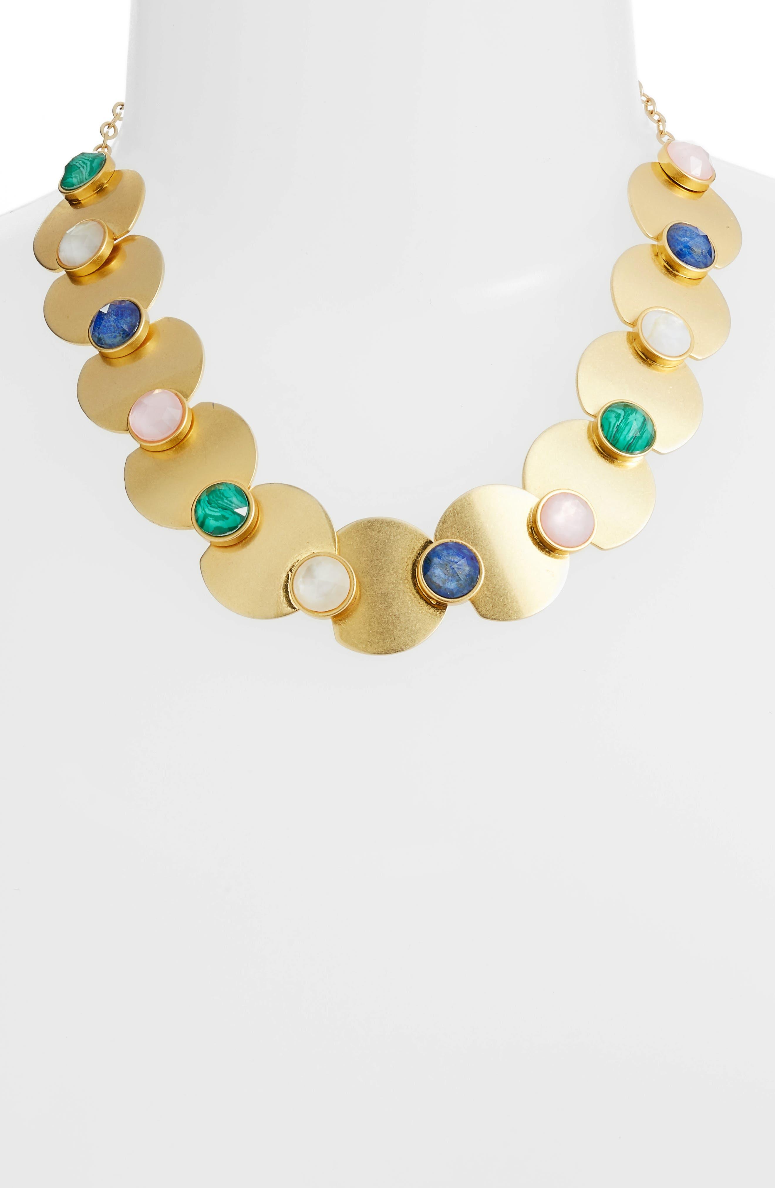 kate spade sunshine stones crew necklace,                             Alternate thumbnail 2, color,                             Gold Multi