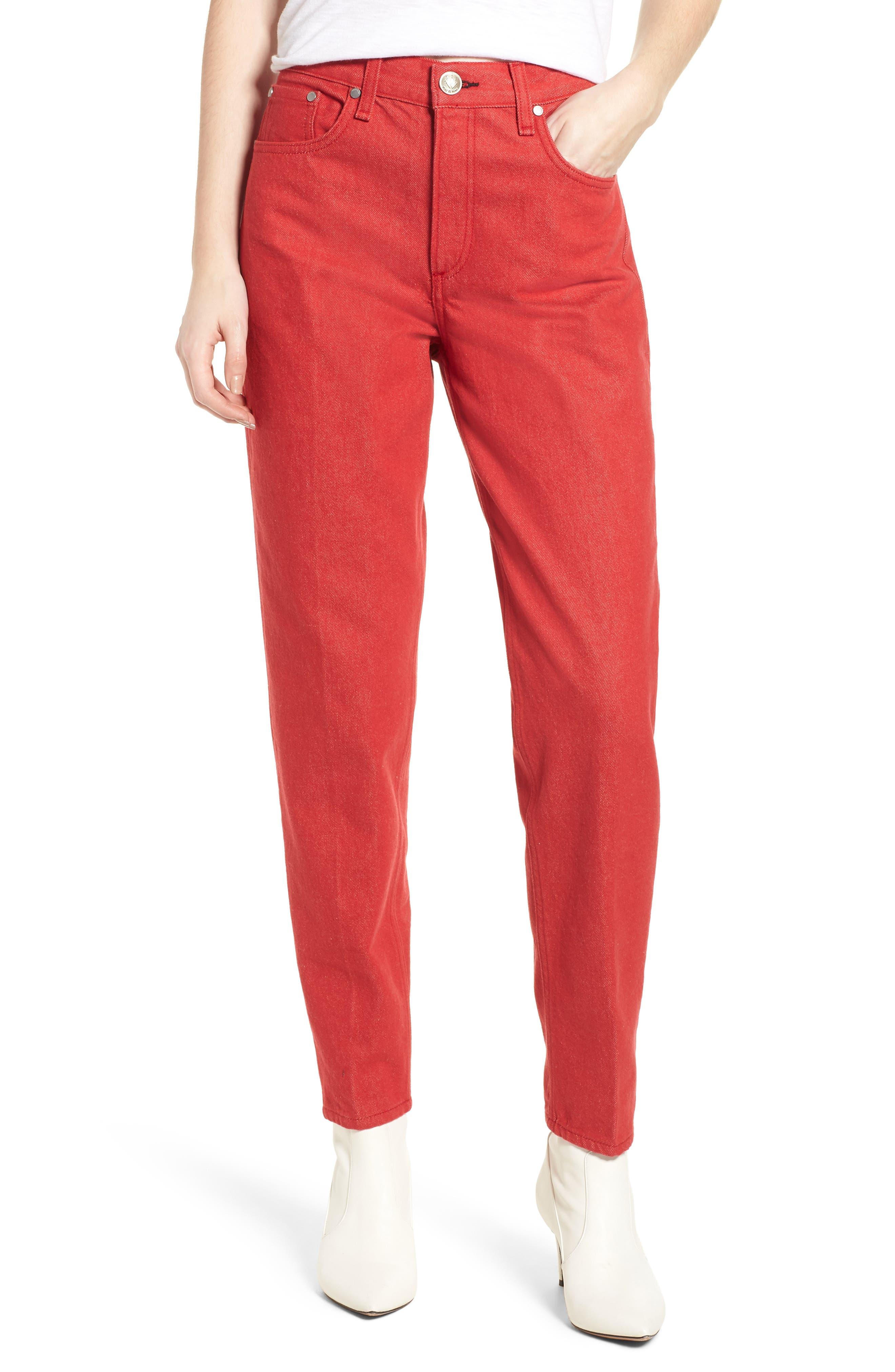 rag & bone/JEAN Ash High Waist Crop Straight Leg Jeans (Bull Red)