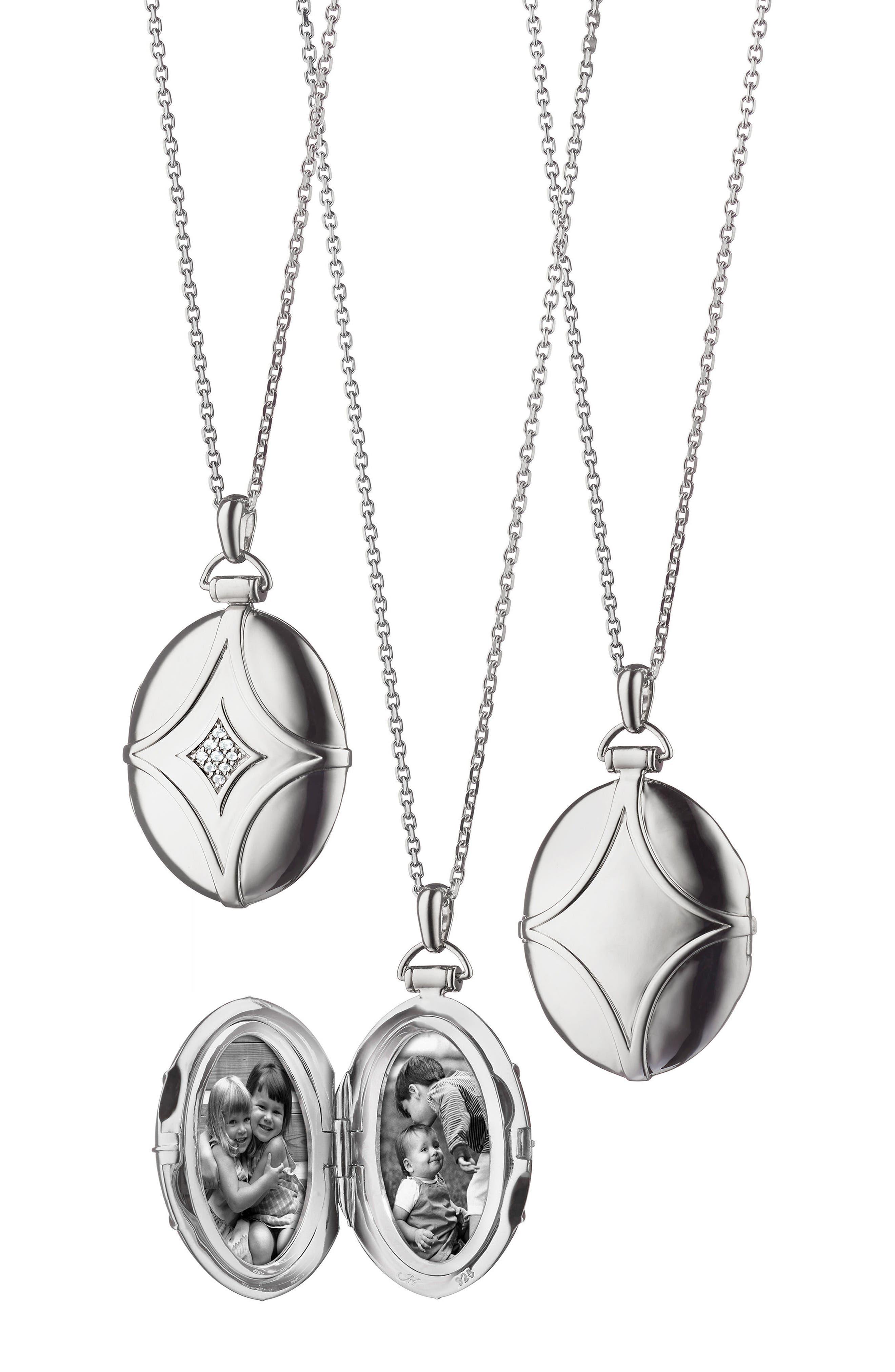 Bridle Locket Necklace,                         Main,                         color, Sterling Silver