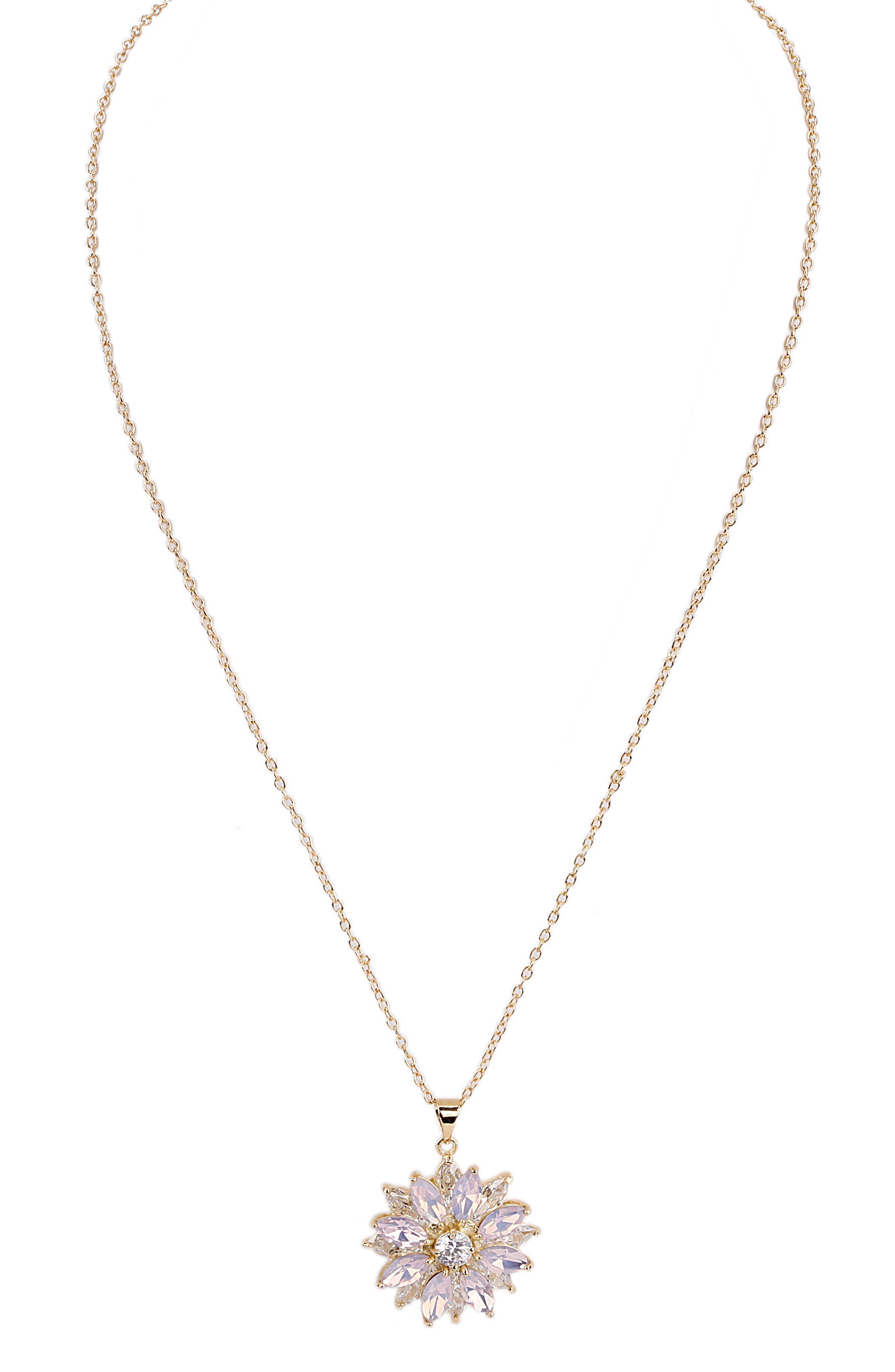 Layer Floral Pendant Necklace,                             Main thumbnail 1, color,                             Pink Opal/ Gold