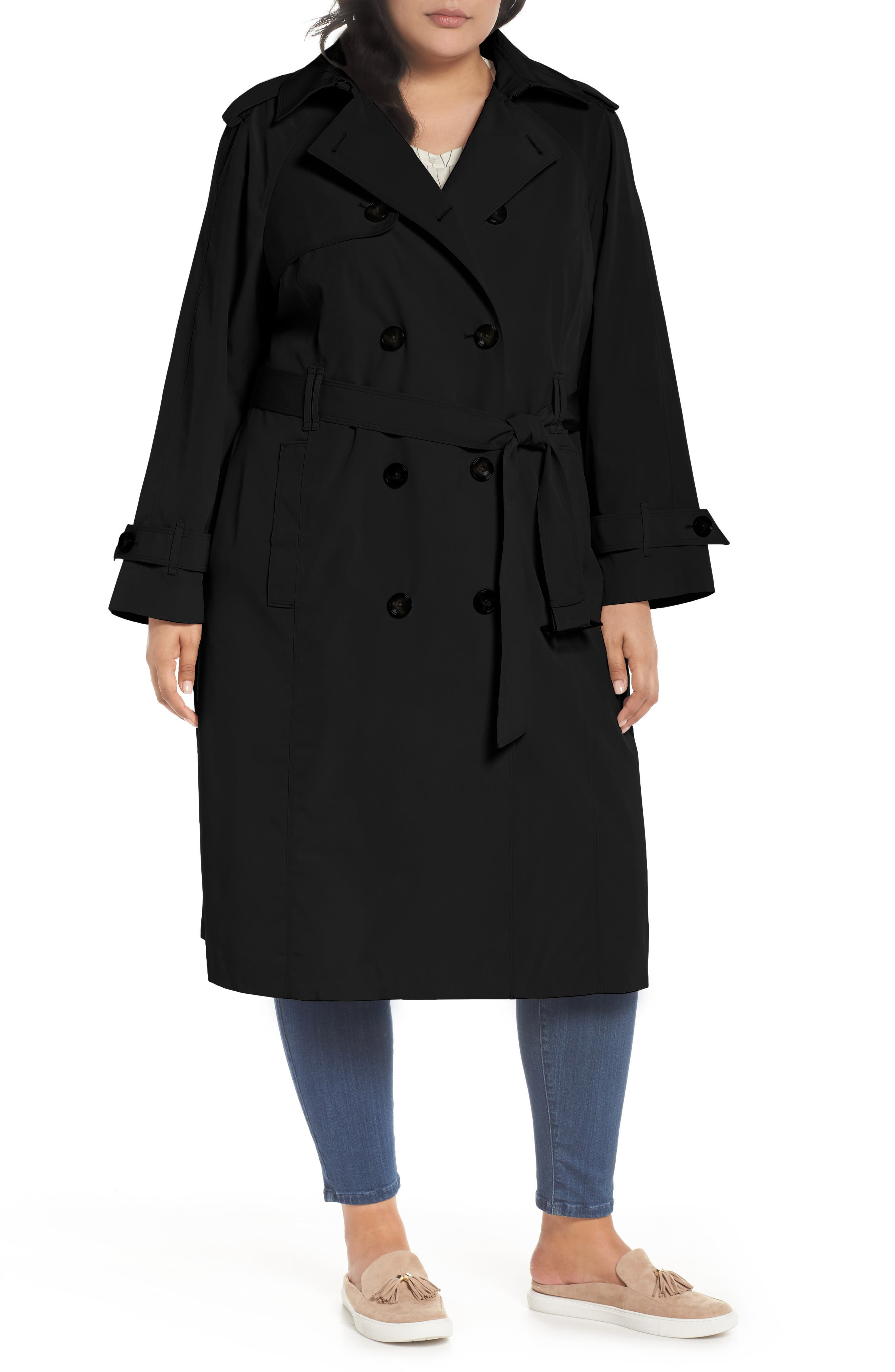 Double Breasted Trench Coat,                             Main thumbnail 1, color,                             Black