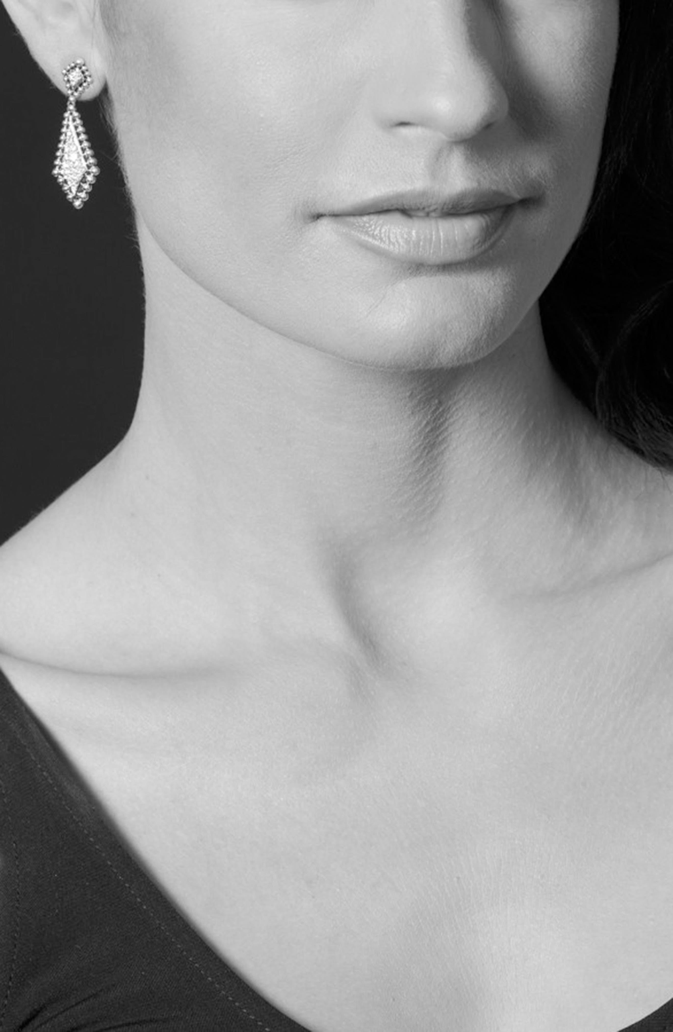 Caviar Spark Diamond Drop Earrings,                             Alternate thumbnail 3, color,                             Silver/ Diamond