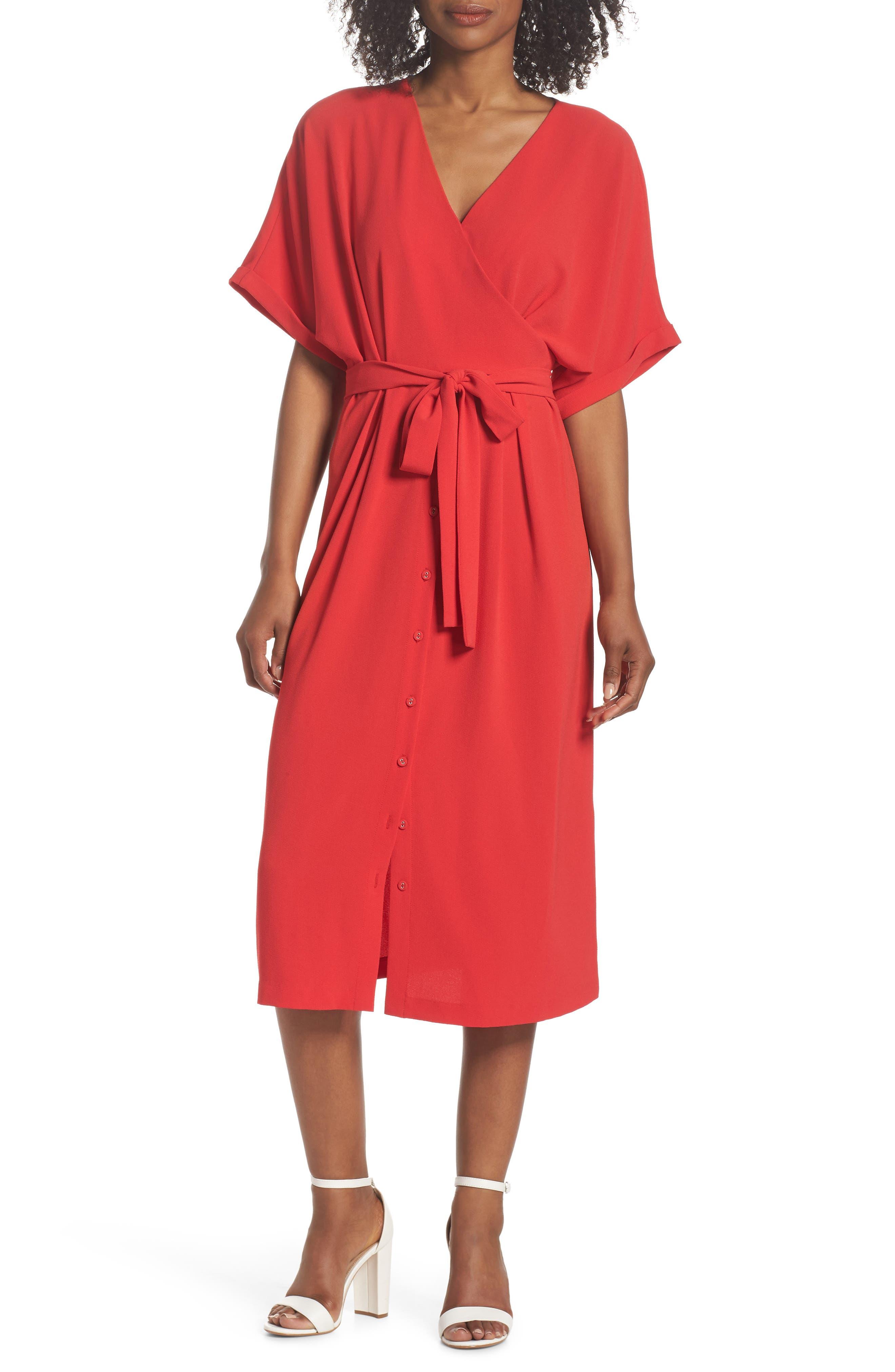 Felicity & Coco Dolman Sleeve Faux Wrap Dress