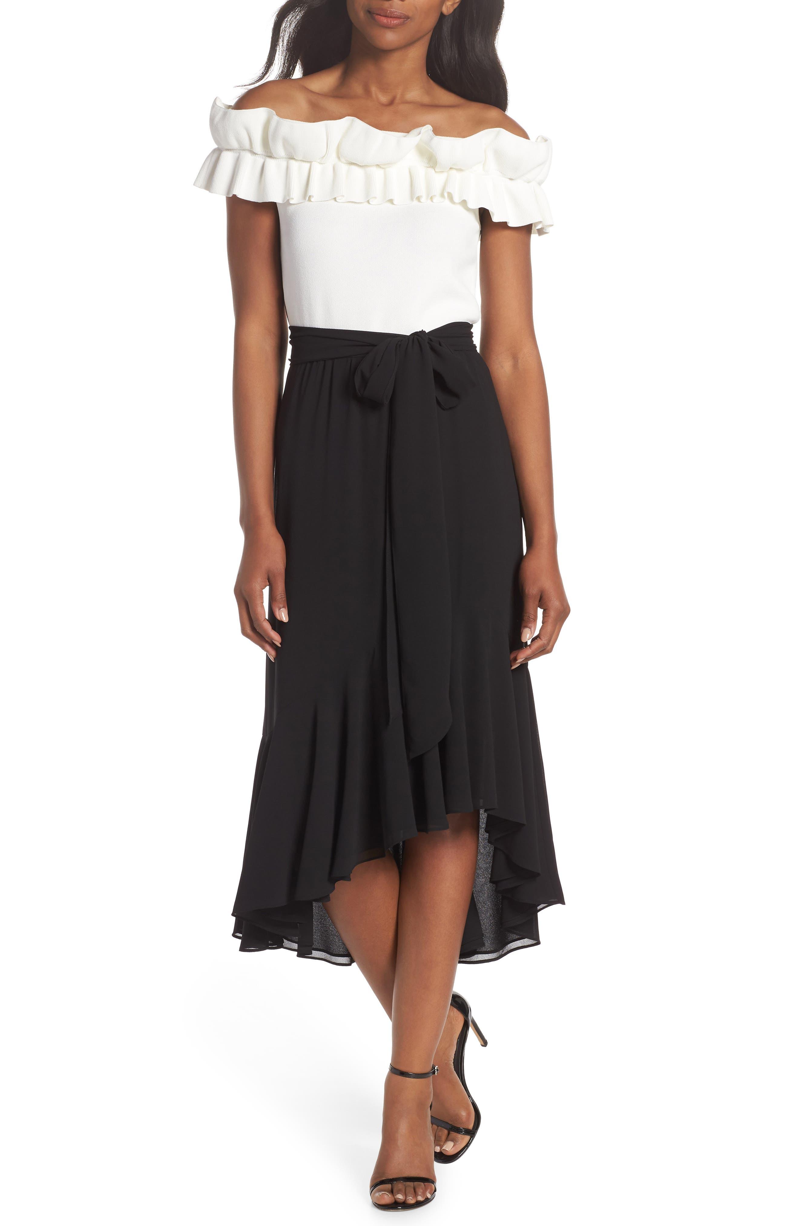 Asymmetrical High/Low Flounce Skirt,                             Alternate thumbnail 7, color,                             Black