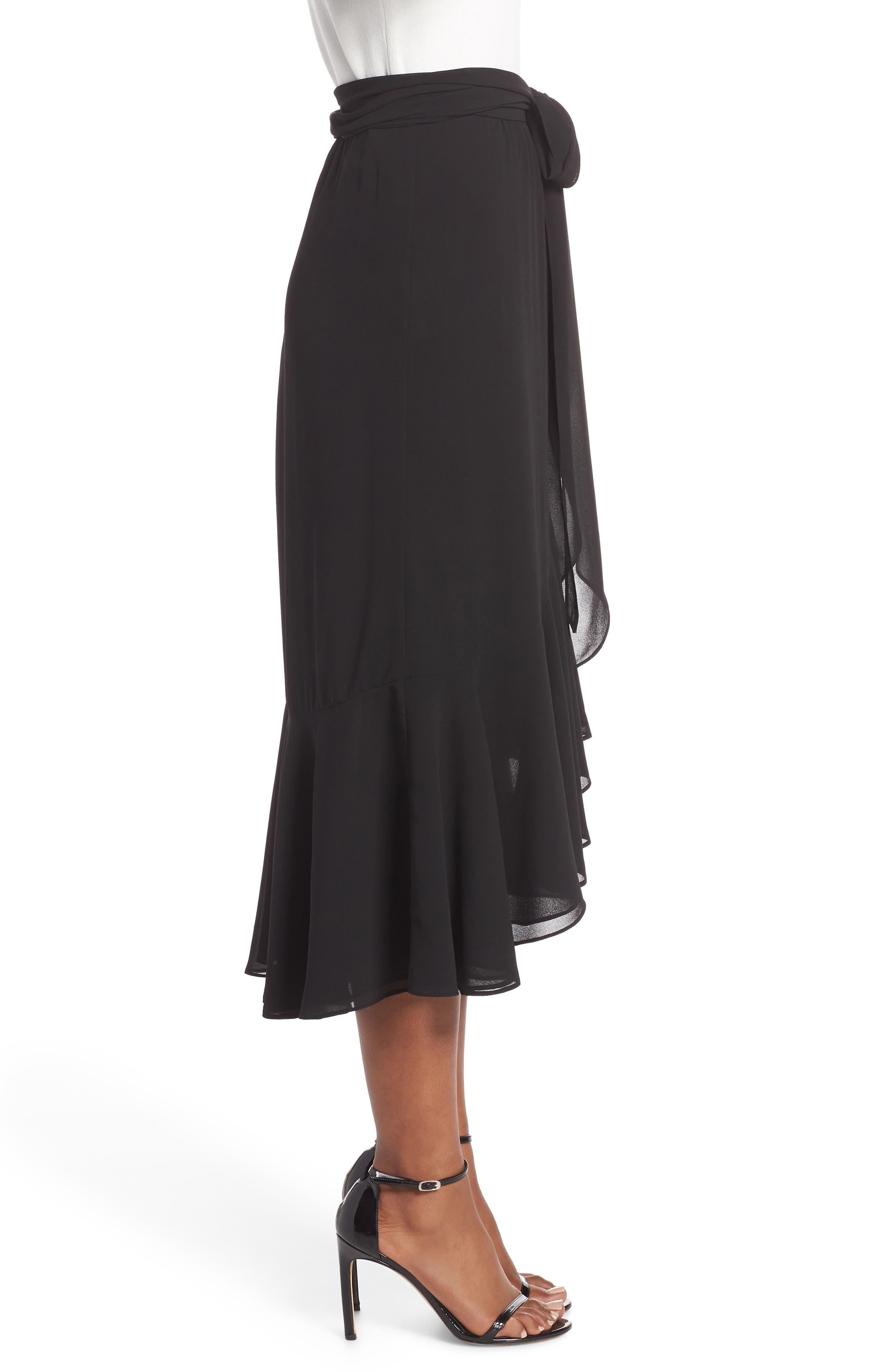 Asymmetrical High/Low Flounce Skirt,                             Alternate thumbnail 3, color,                             Black