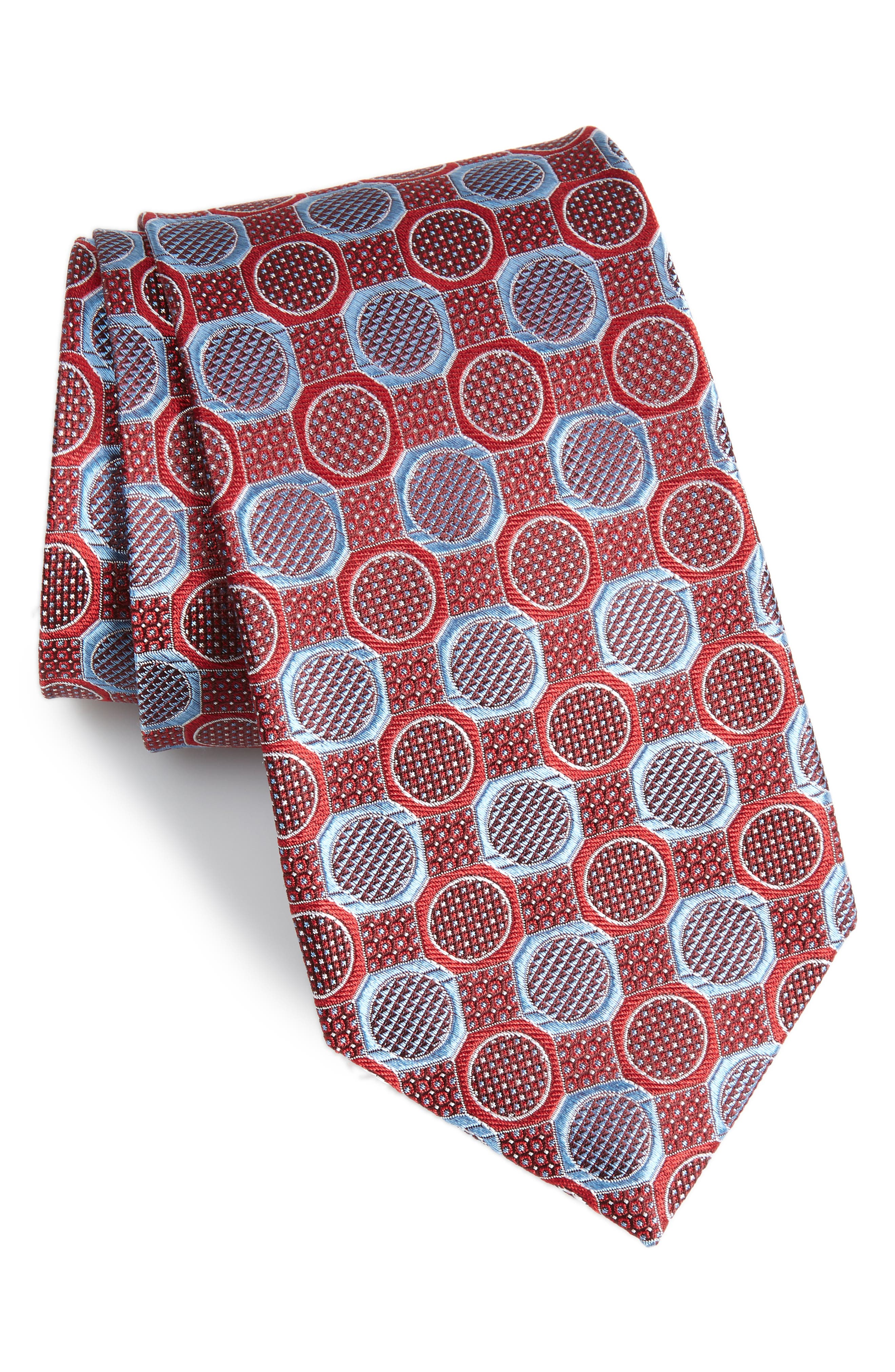 Cammillo Geometric Tie,                             Main thumbnail 1, color,                             Red