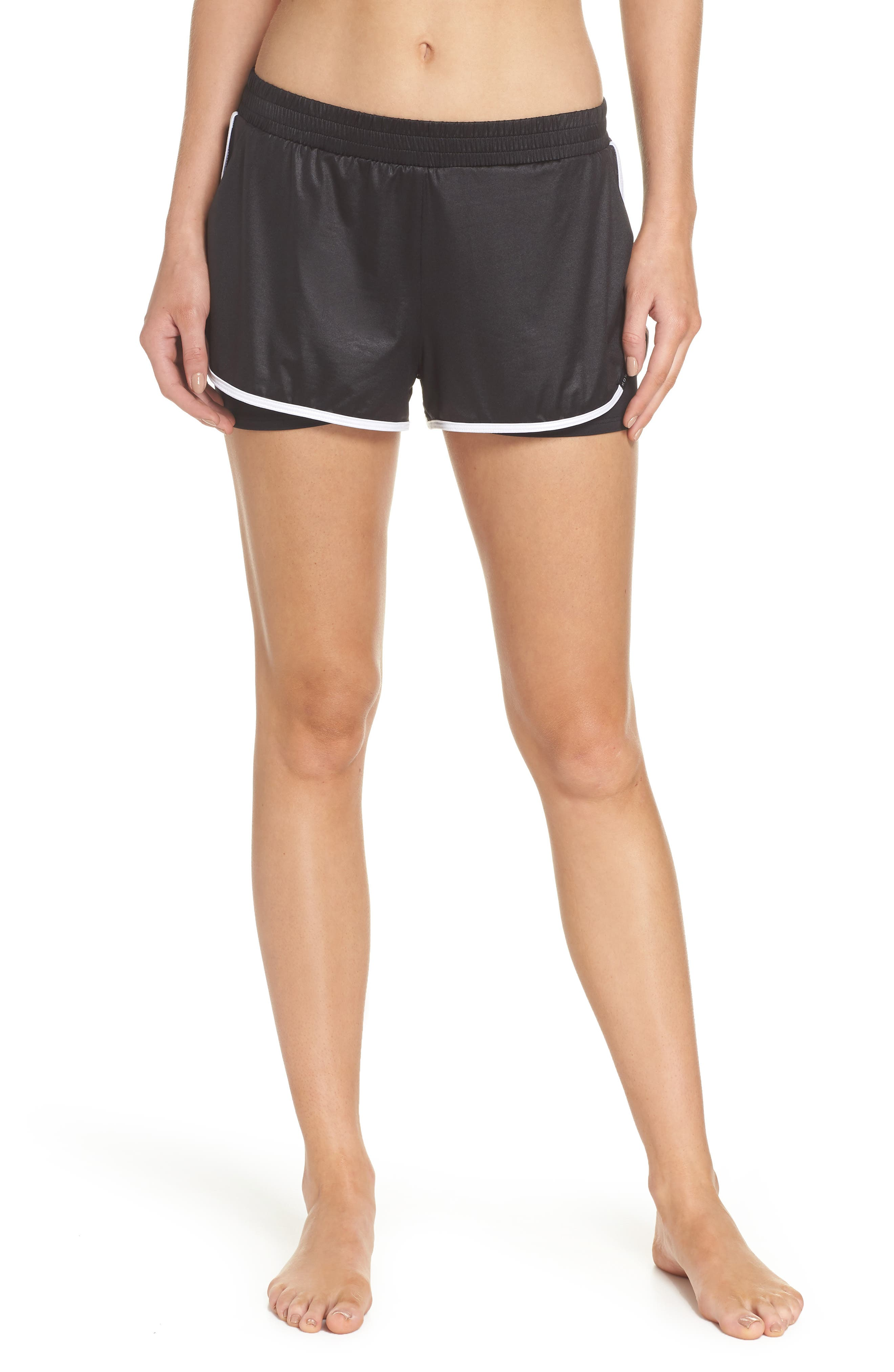 Scout Gym Shorts,                         Main,                         color, Black/ White