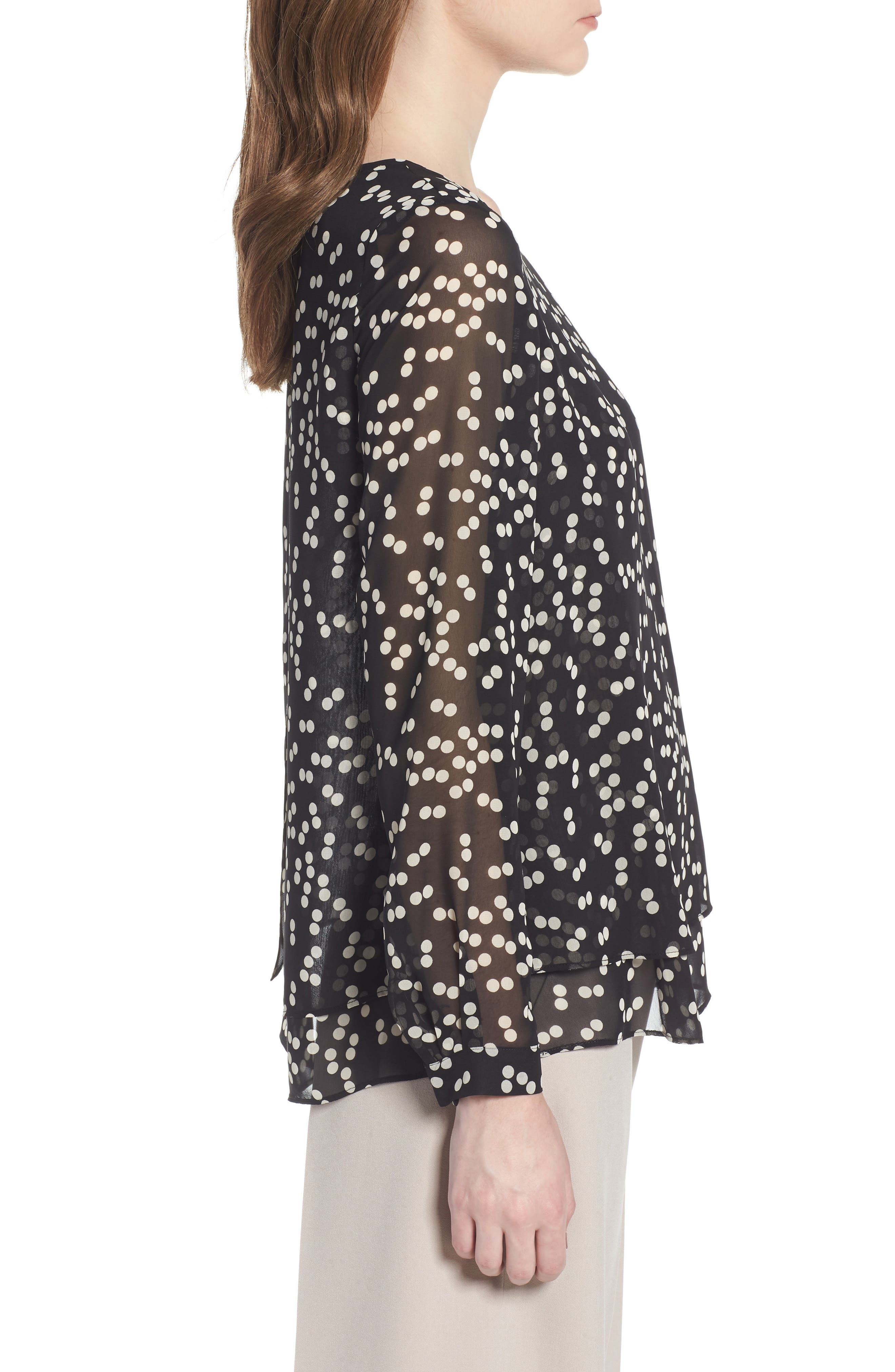 Double Layer Dot Print Blouse,                             Alternate thumbnail 3, color,                             Black/ Parchment