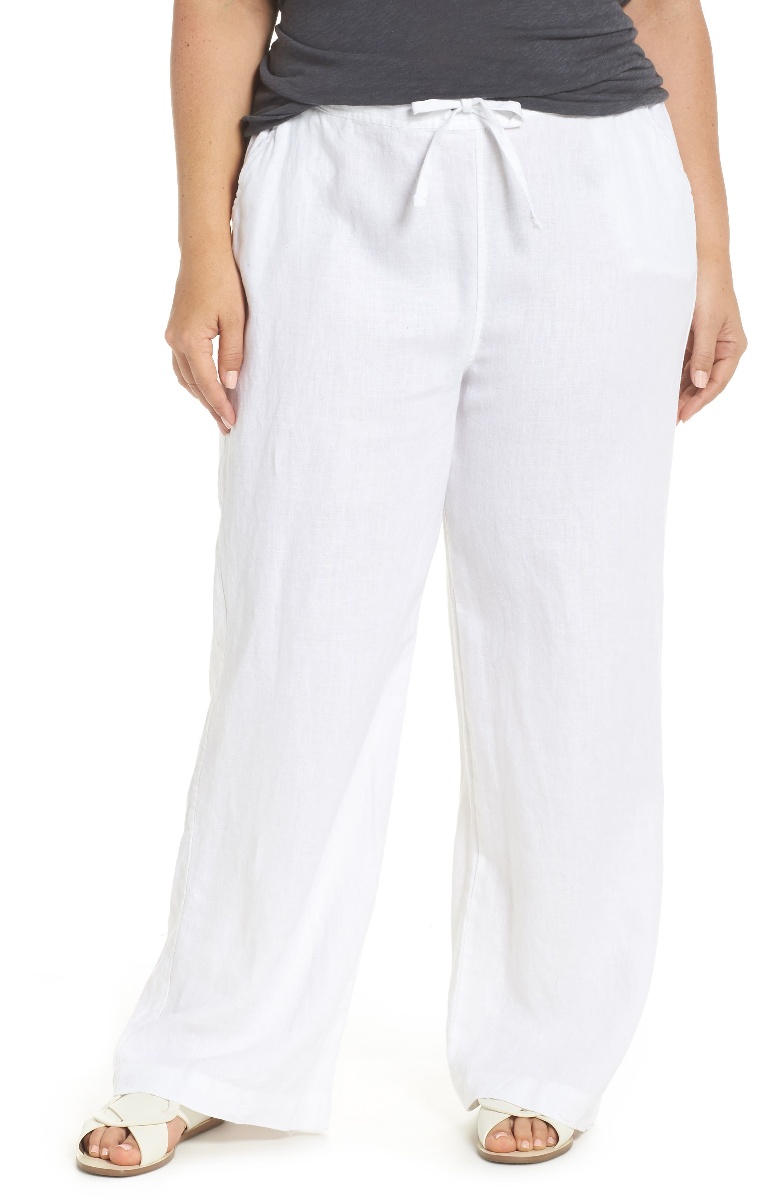 Wide Leg Linen Pants,                         Main,                         color, Ultra White