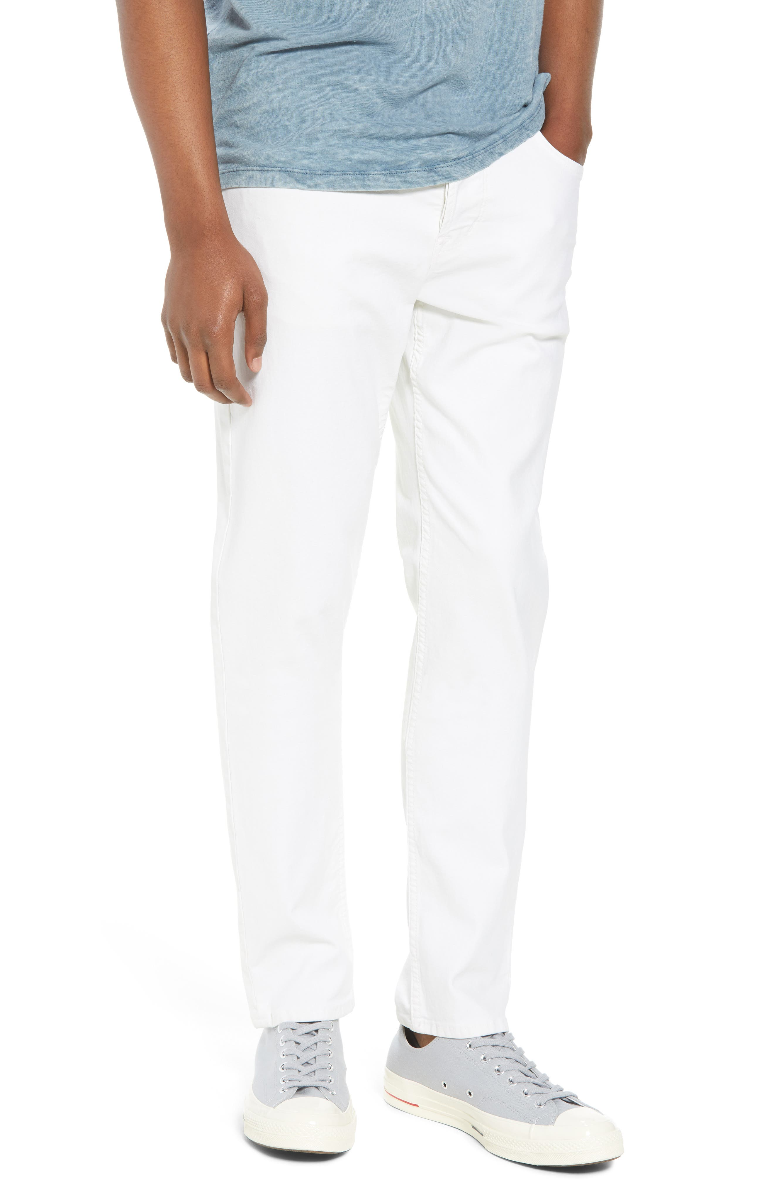 Hudson Jeans Sartor Slouchy Skinny Fit Jeans (Off White)
