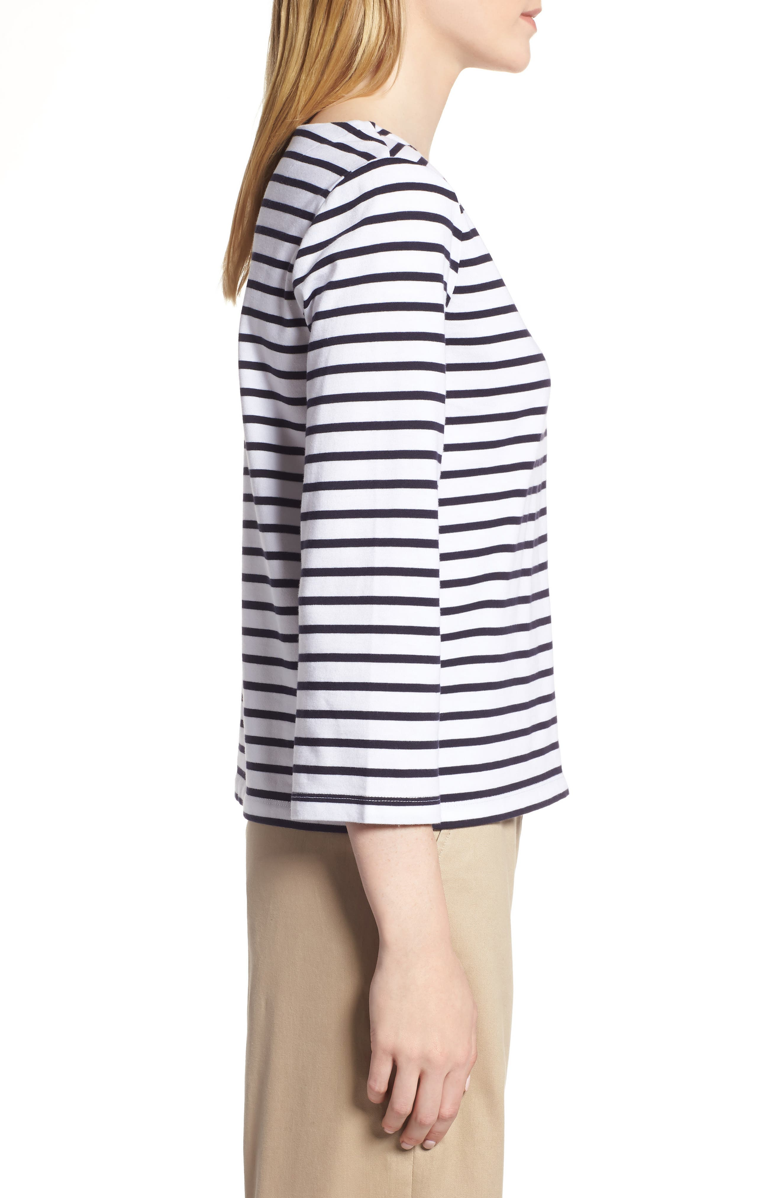 Shoulder Button Cotton Top,                             Alternate thumbnail 3, color,                             White- Navy Stripe