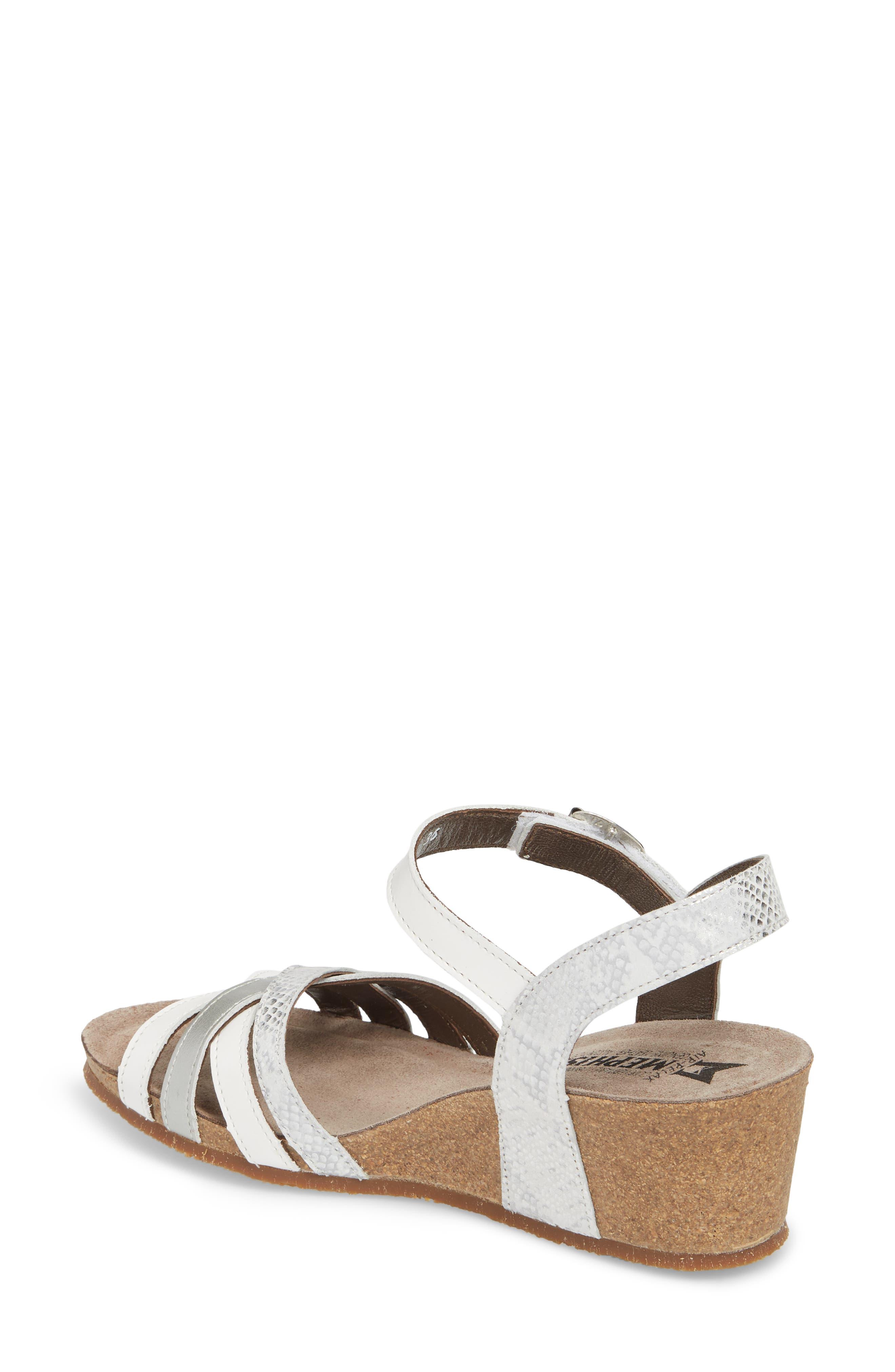 Mado Wedge Sandal,                             Alternate thumbnail 2, color,                             White Leather