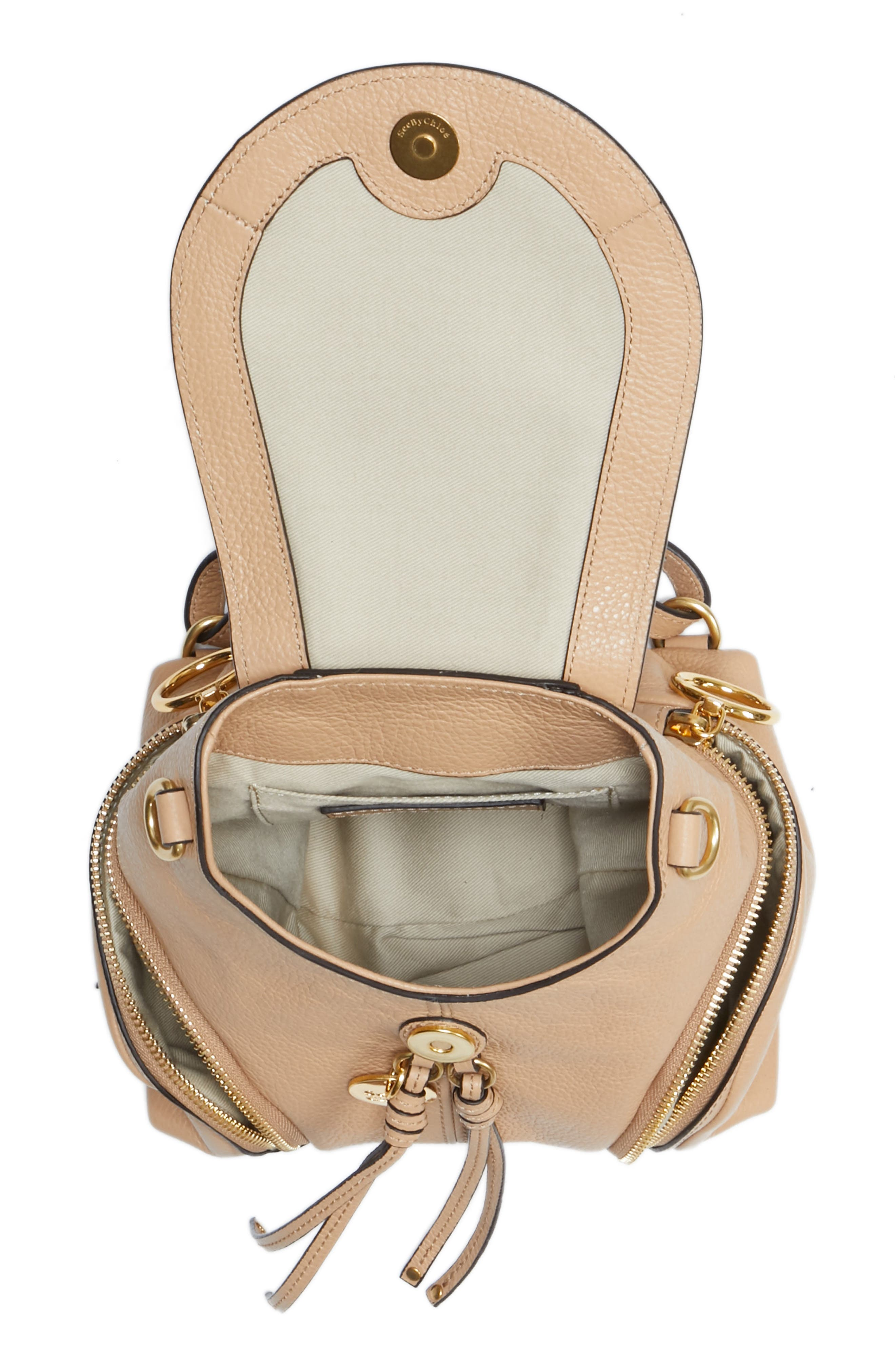 Small Olga Leather Backpack,                             Alternate thumbnail 4, color,                             Blush Nude