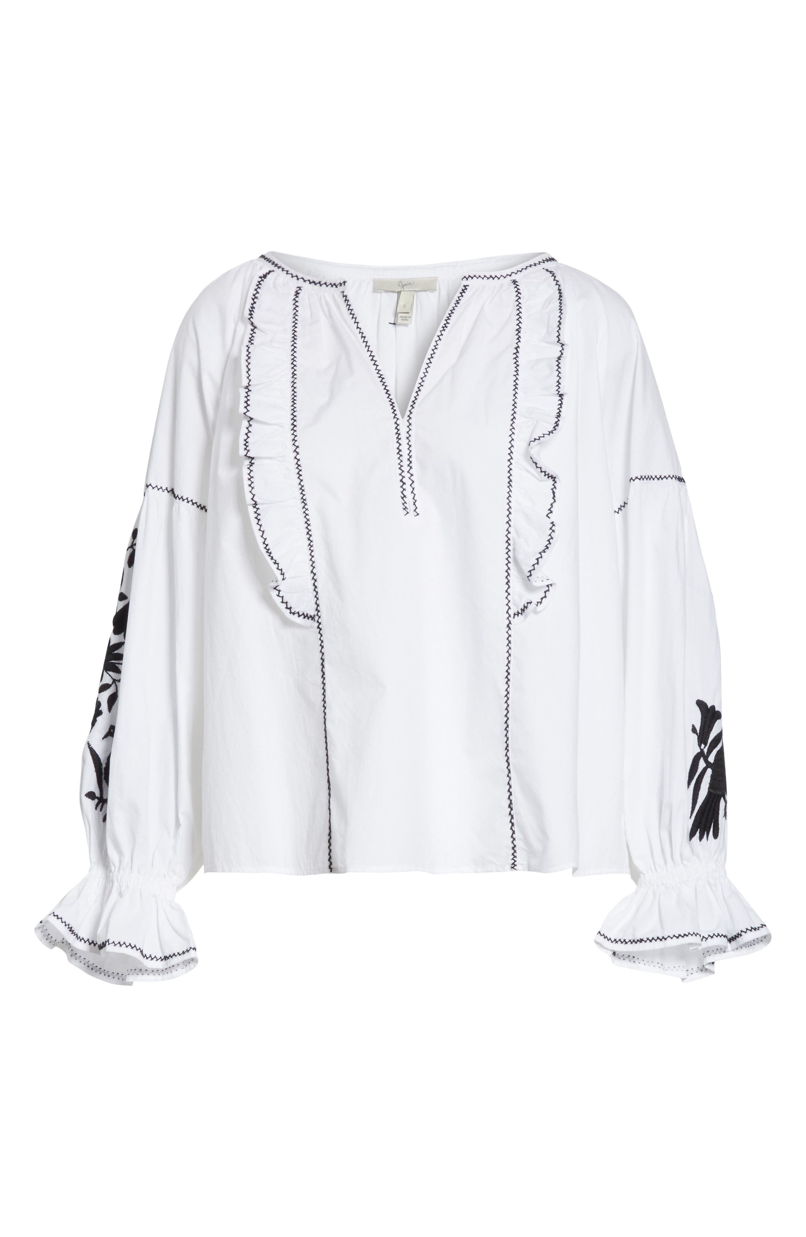 Cleavanta Embroidered Peasant Blouse,                             Alternate thumbnail 6, color,                             Clean White Caviar