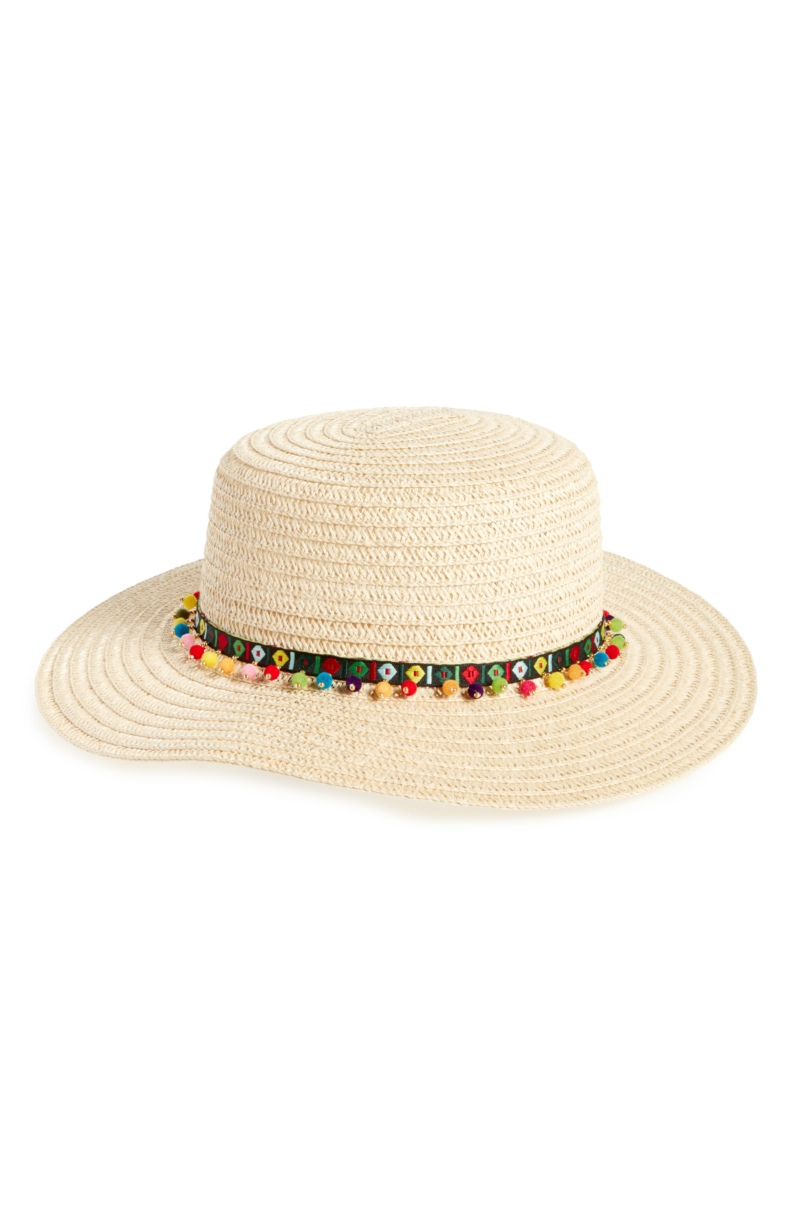 Bead Trim Straw Boater Hat,                             Main thumbnail 1, color,                             Natural Combo