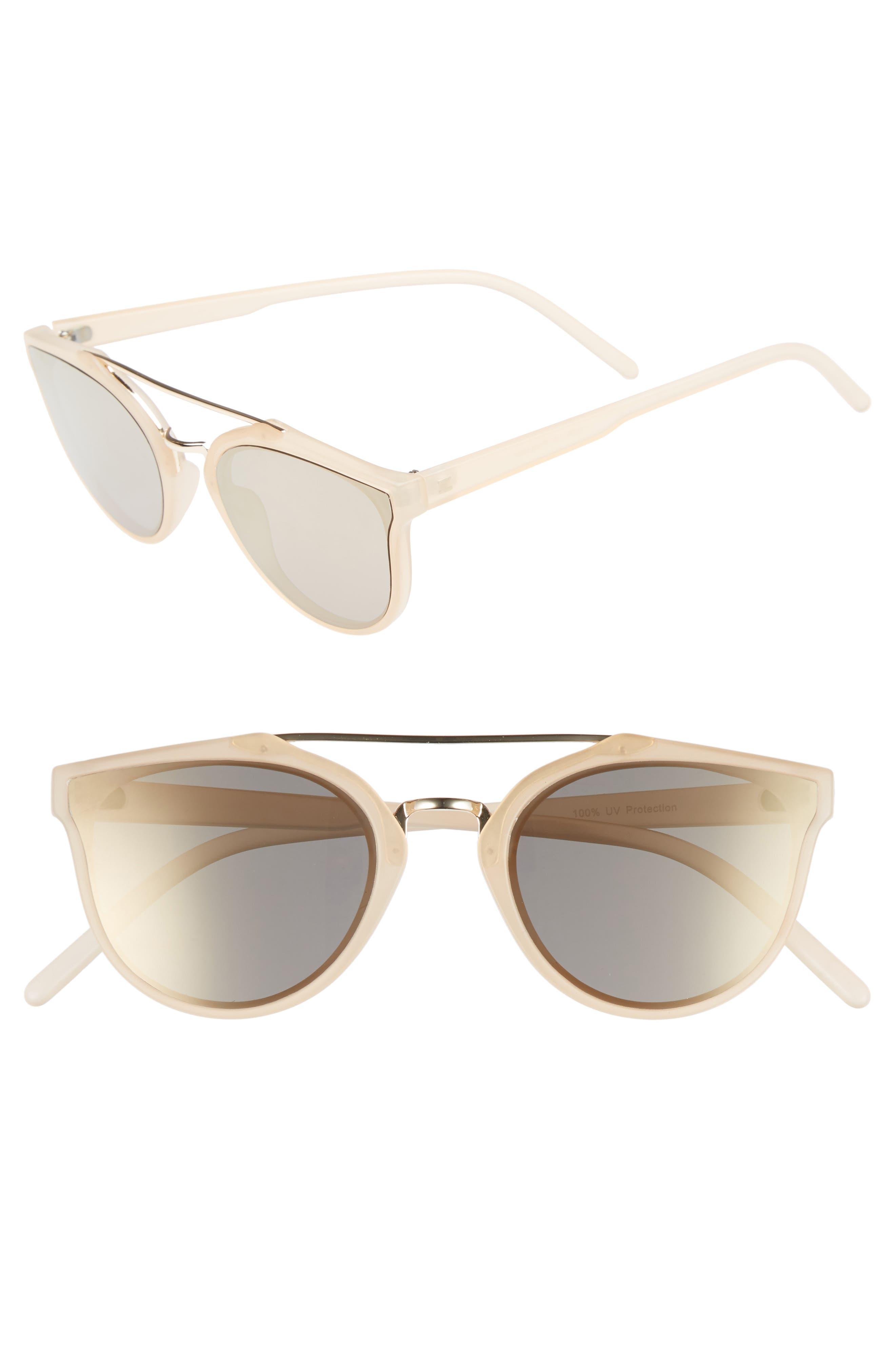 Aviator Sunglasses,                             Main thumbnail 1, color,                             Milky Peach/ Gold