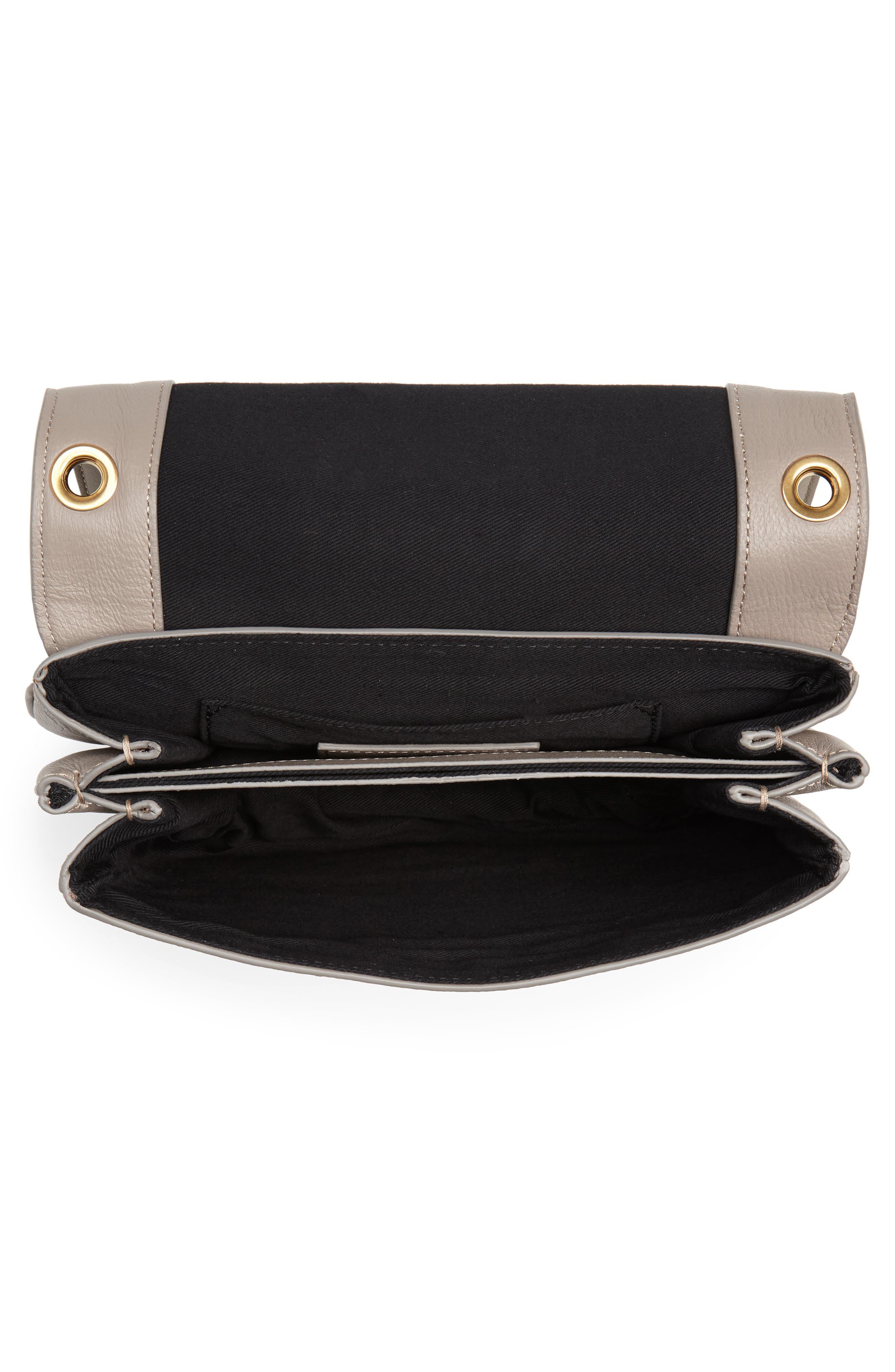 Hana Small Leather Crossbody Bag,                             Alternate thumbnail 4, color,                             Motty Grey