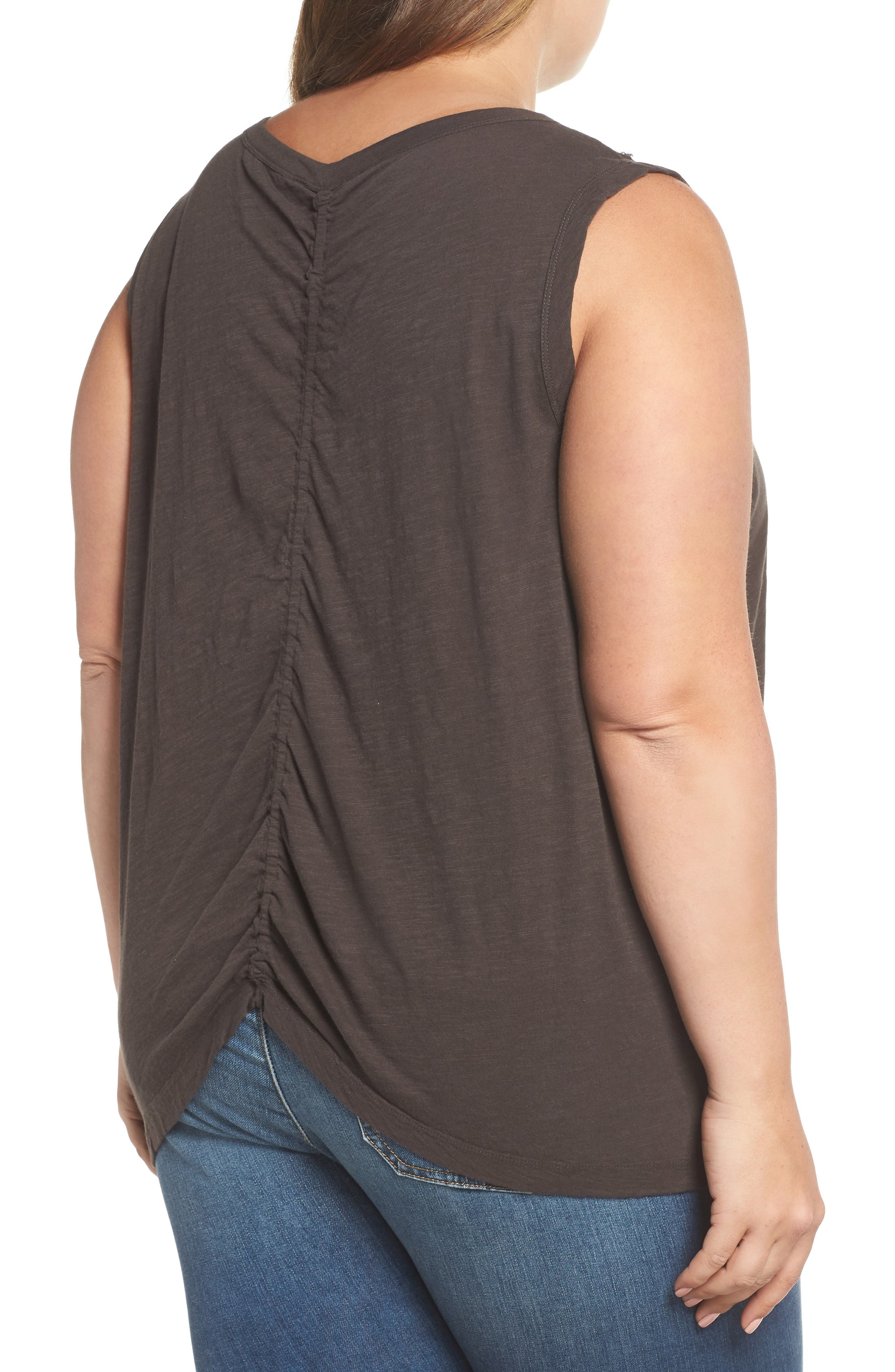 Embroidered Leaf Ruched Back Top,                             Alternate thumbnail 2, color,                             Lucky Black