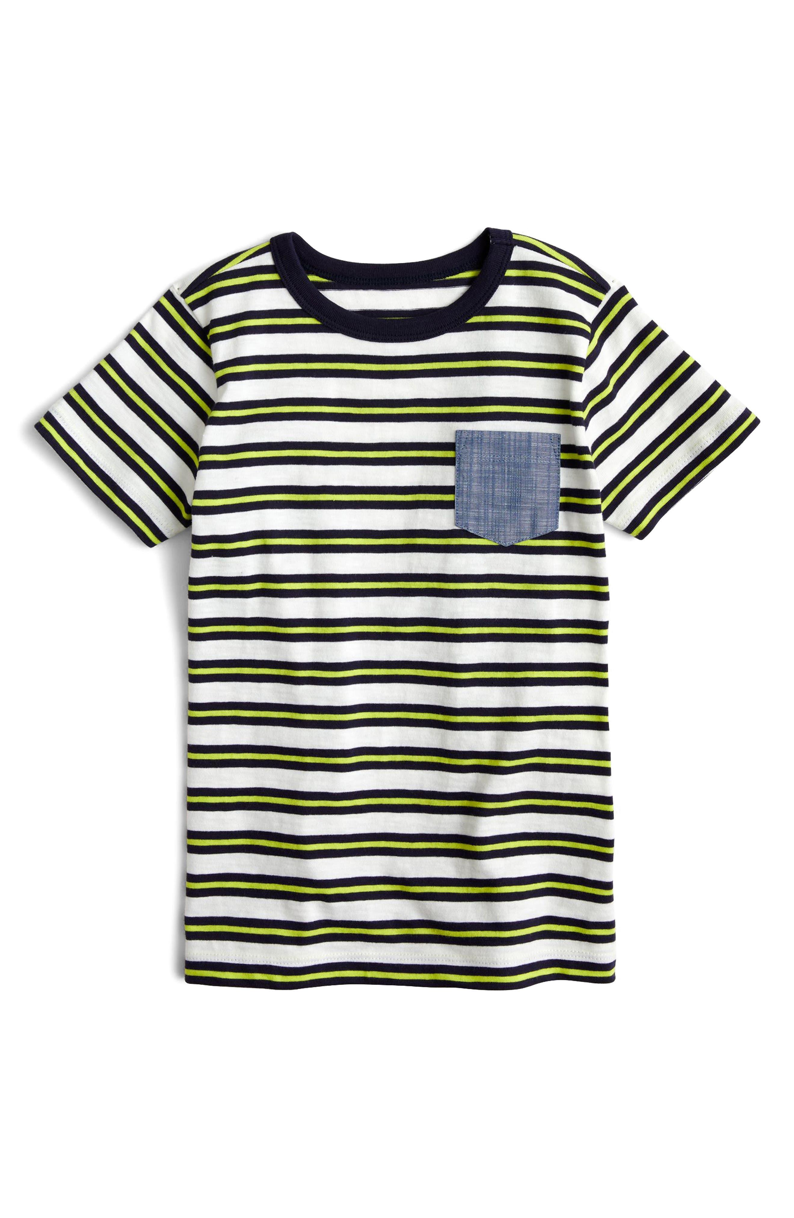 crewcuts by J.Crew Stripe Chambray Pocket T-Shirt (Toddler Boys, Little Boys & Big Boys)