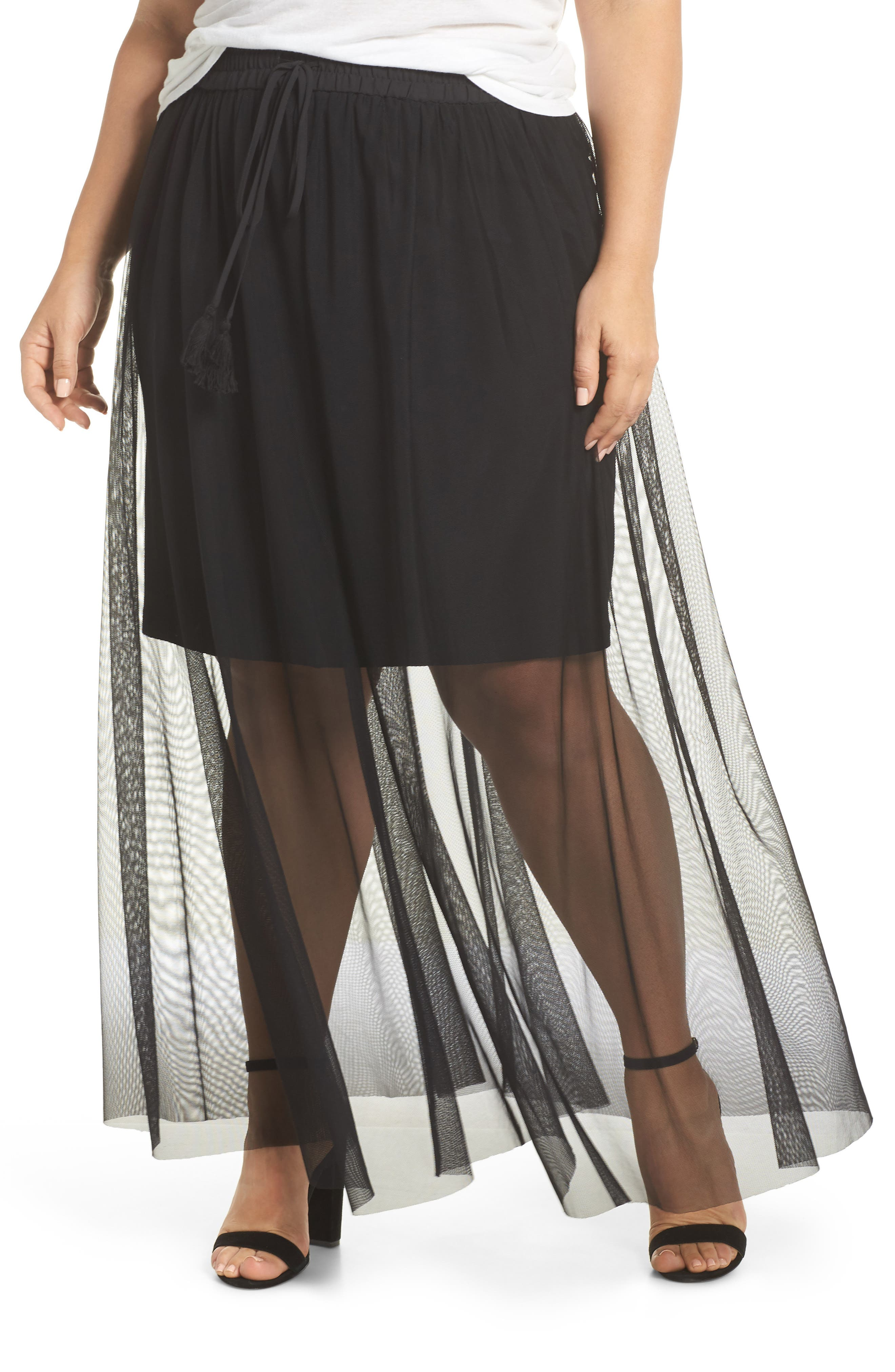 Side Tie Mesh Overlay Maxi Skirt,                         Main,                         color, Rich Black