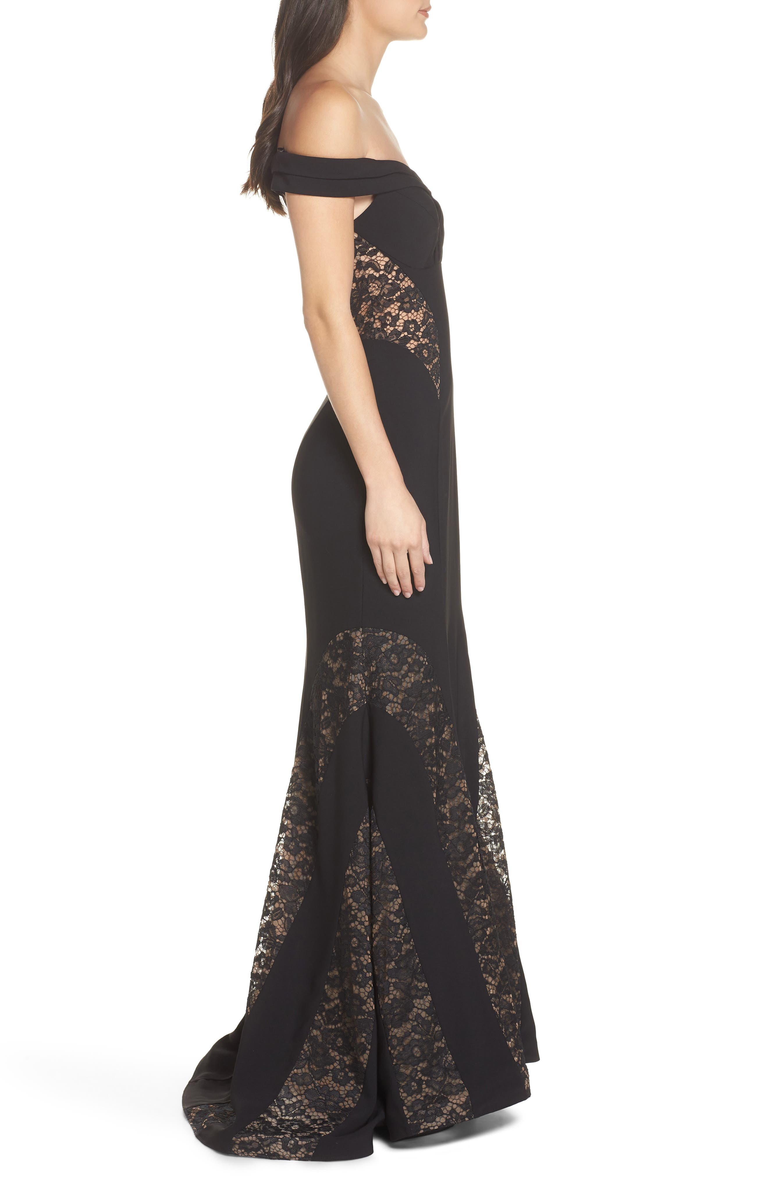 Off the Shoulder Lace Inset Gown,                             Alternate thumbnail 3, color,                             Black