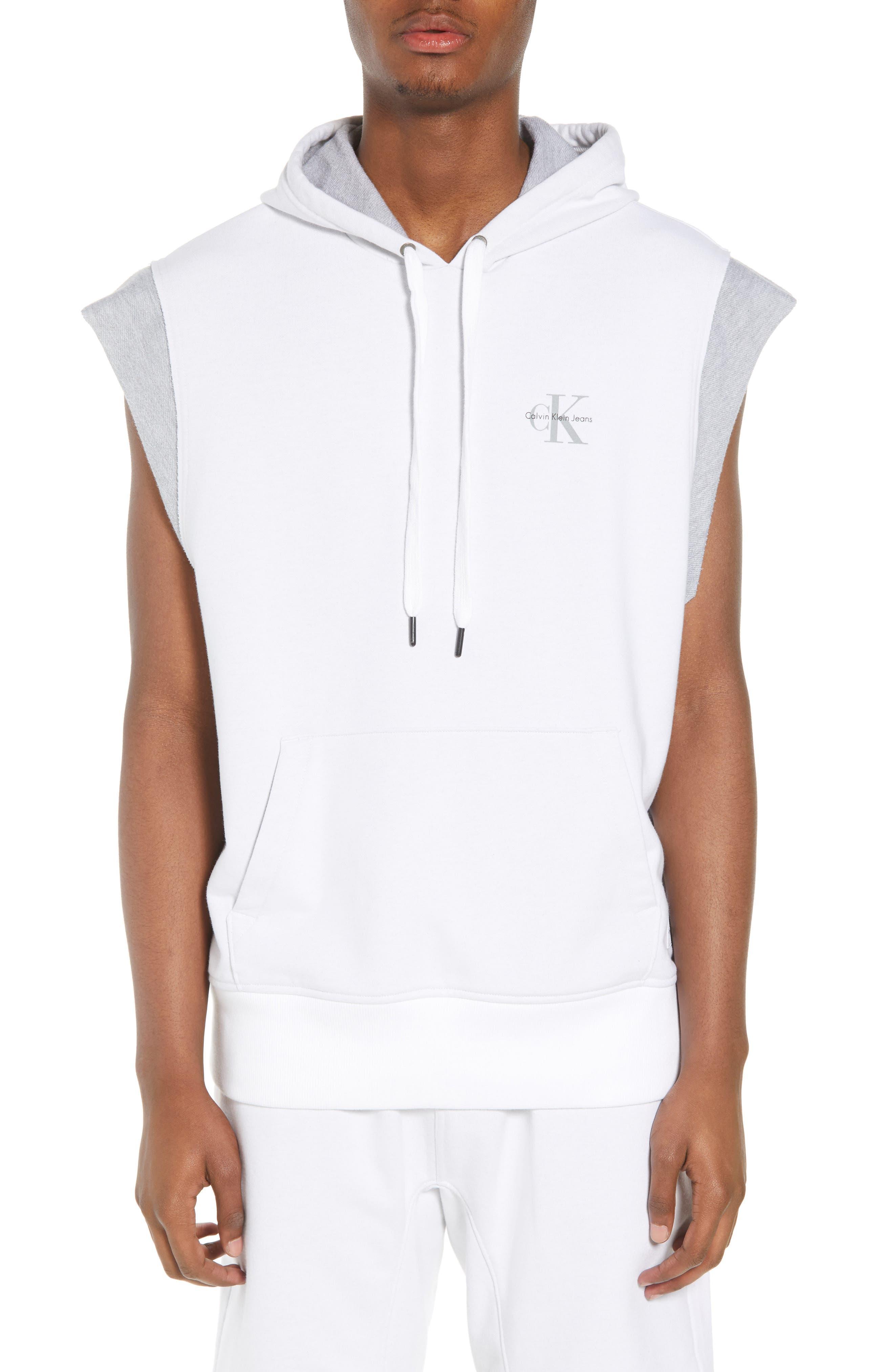 Calvin Klein Sleeveless Hoodie,                             Main thumbnail 1, color,                             Standard White