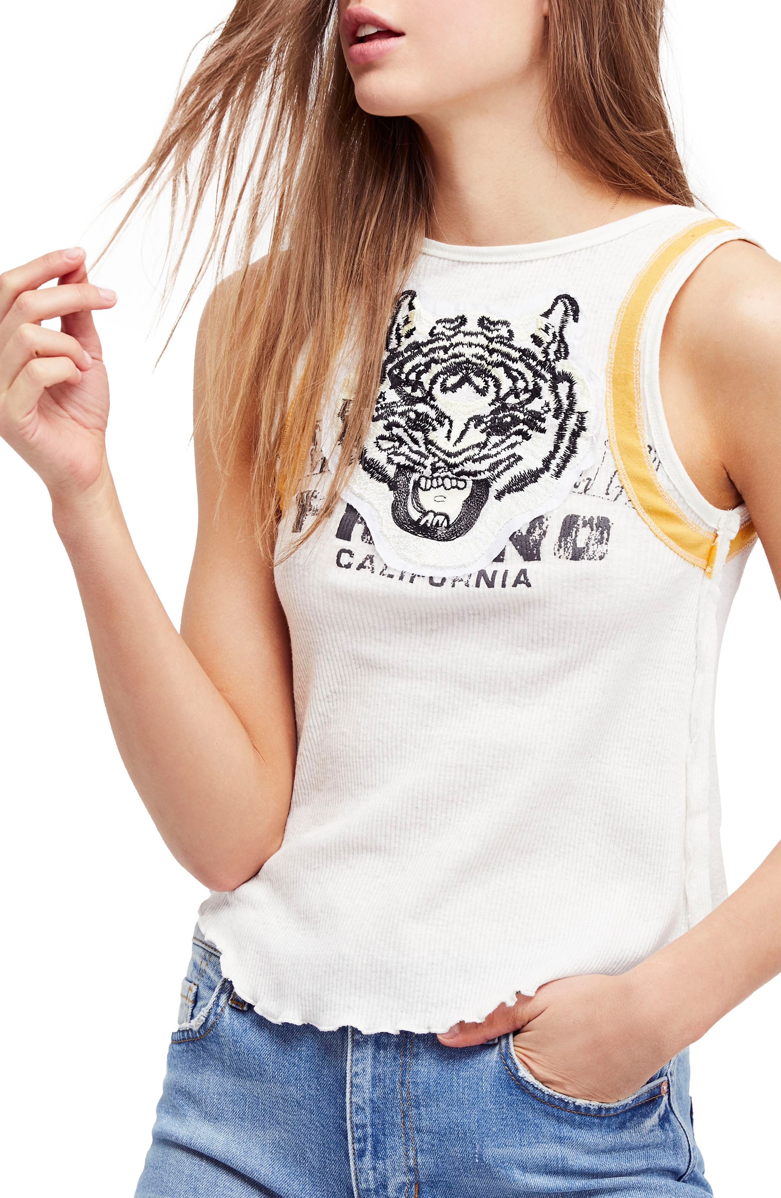 We the Free by Free People Mini Moto Graphic Tank,                             Main thumbnail 1, color,                             White