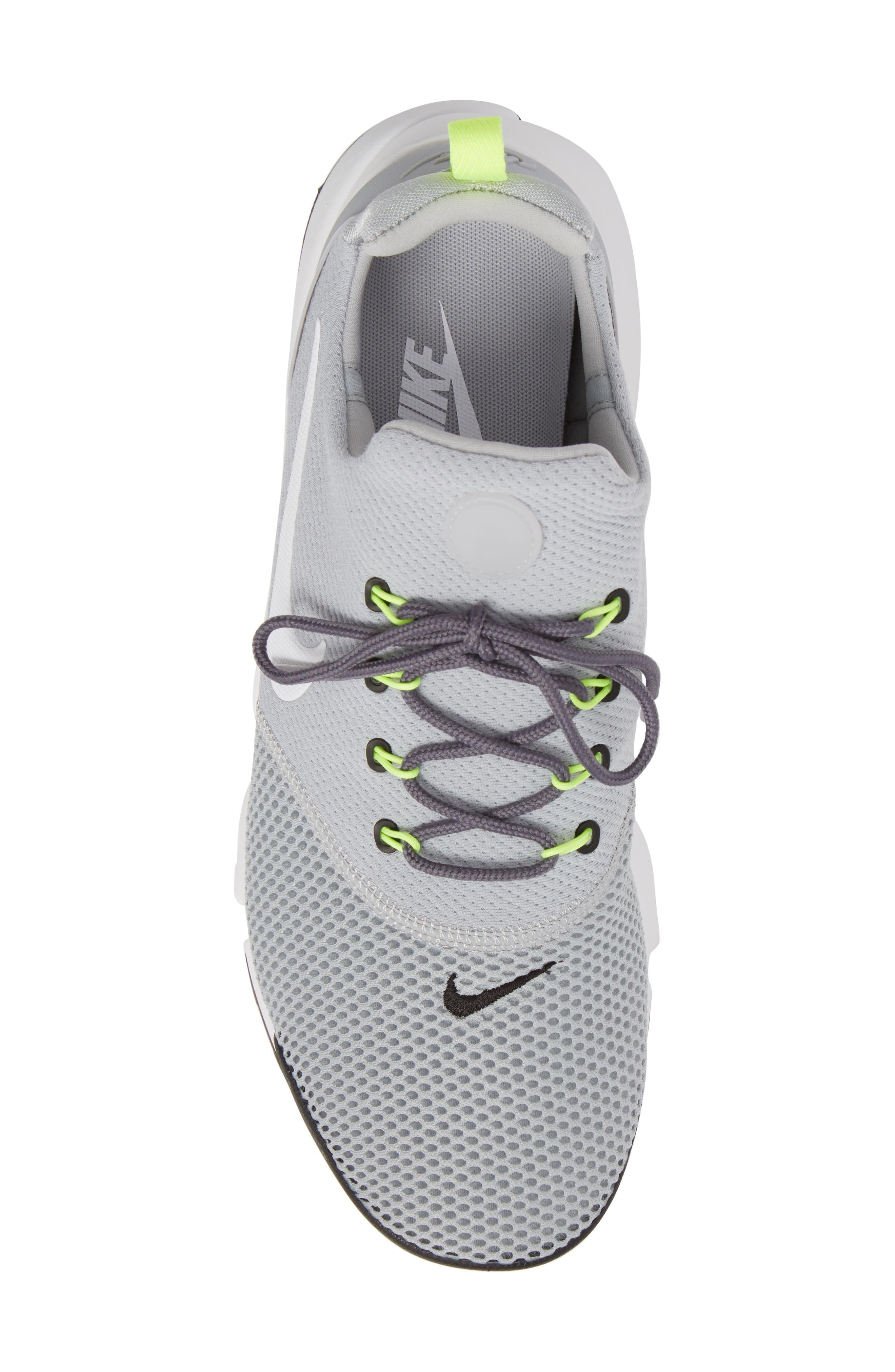 Presto Fly Sneaker,                             Alternate thumbnail 5, color,                             Wolf Grey/ White/ Volt