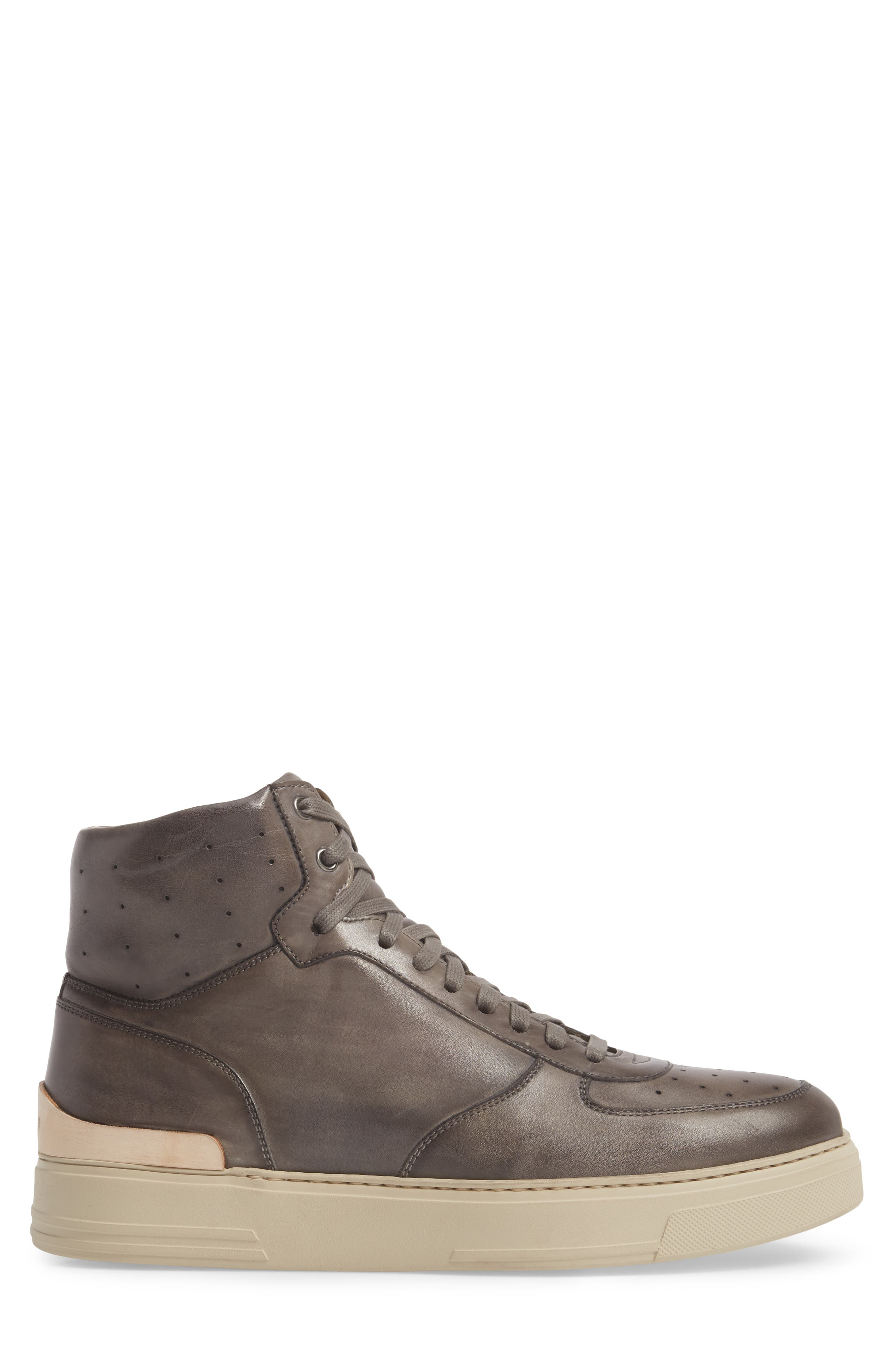 Varro Hi Top Lace Up Sneaker,                             Alternate thumbnail 3, color,                             Grey/ Grey Leather