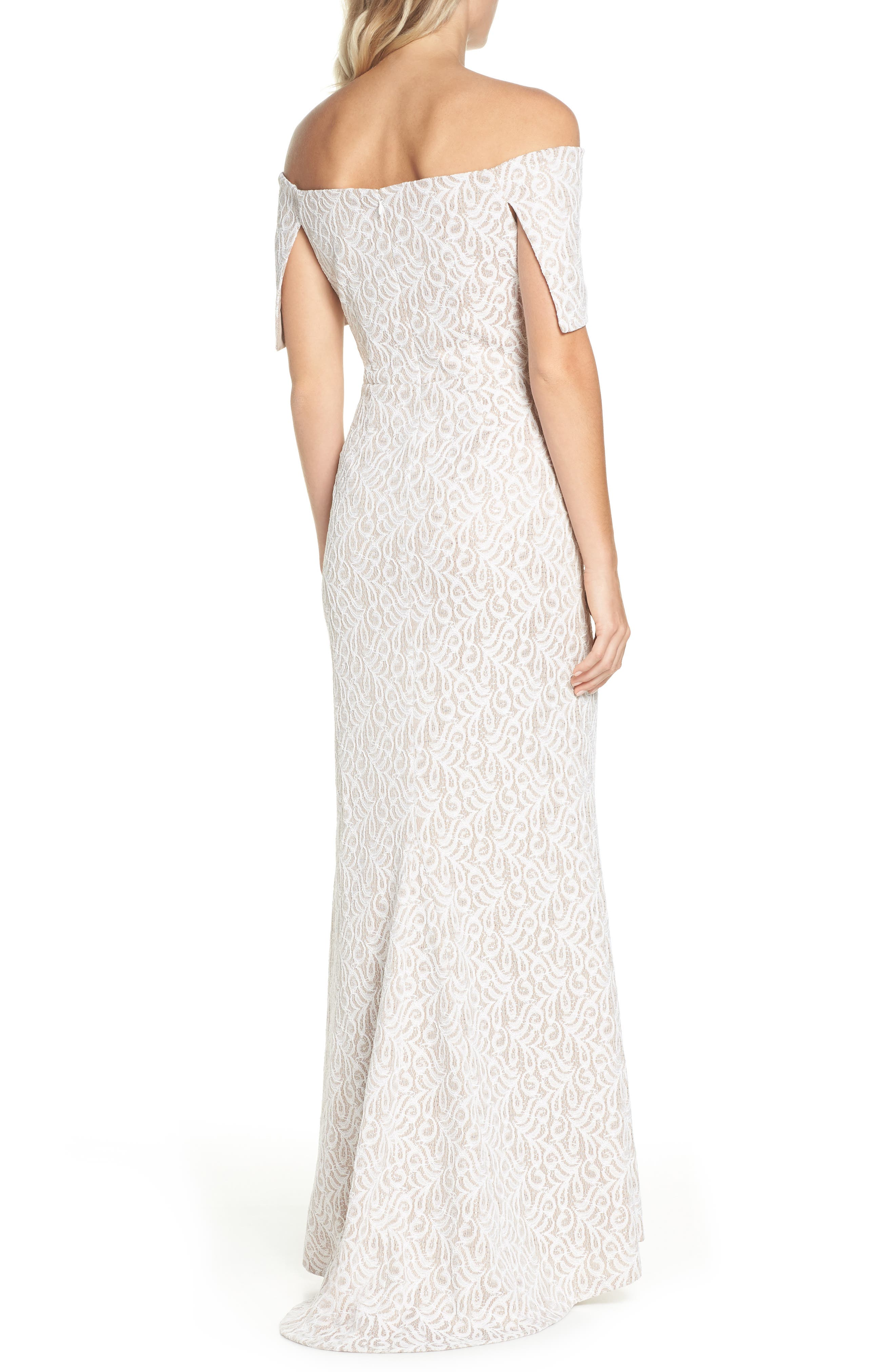 Off the Shoulder Lace Trumpet Gown,                             Alternate thumbnail 2, color,                             Ivory Beige