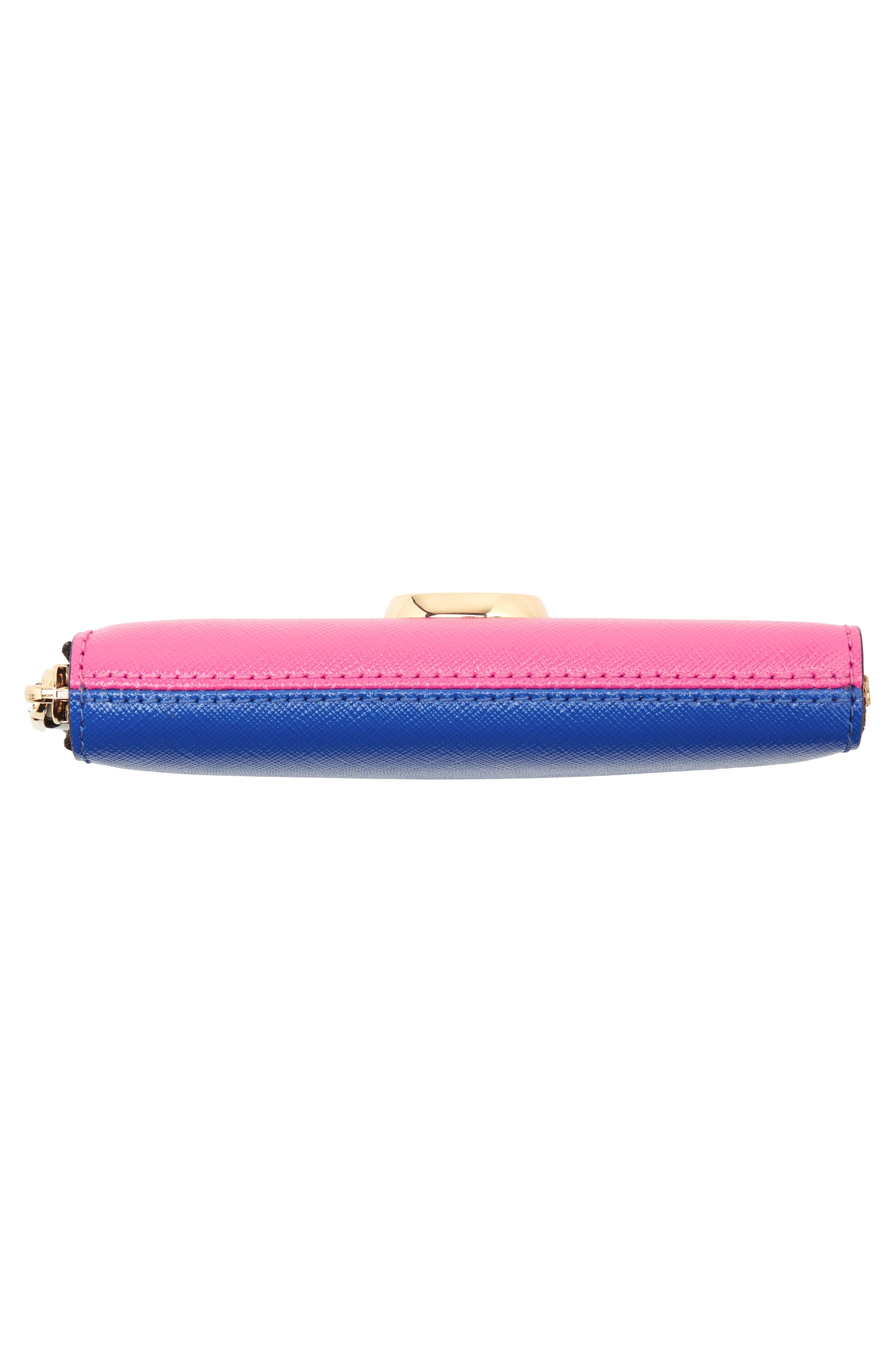 Small Snapshot Leather Zip-Around Wallet,                             Alternate thumbnail 6, color,                             Vivid Pink Multi